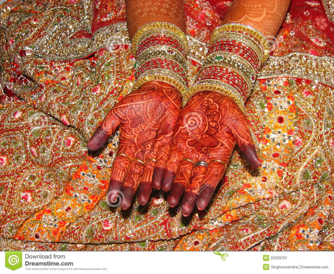Henna Tattoo For Indian Wedding: Indian Bride's Beautiful Hand With Henna Tattoo Stock