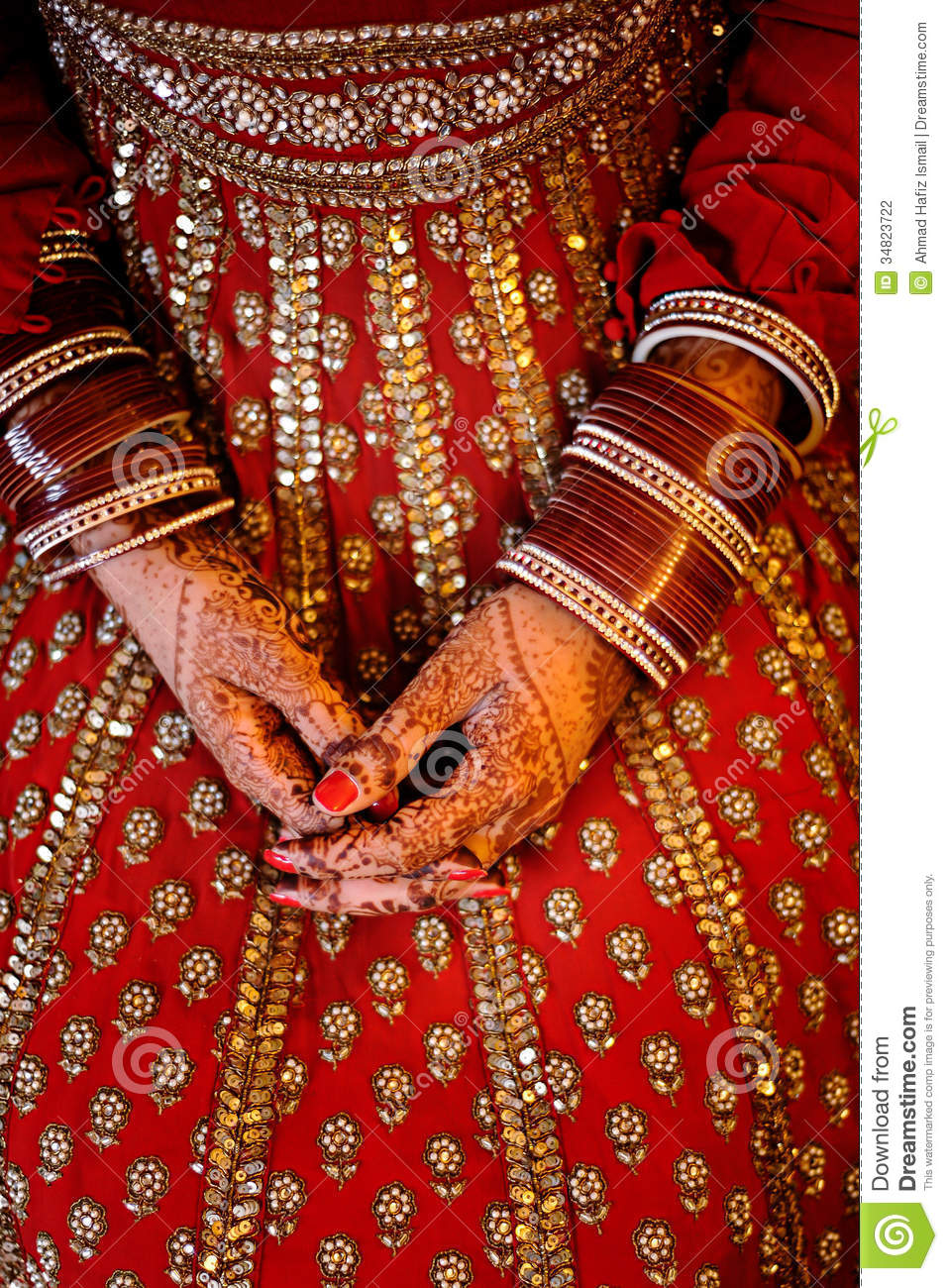 Indian Bride\'s Hands Wearing Bangles Decorated With Beautiful He ...