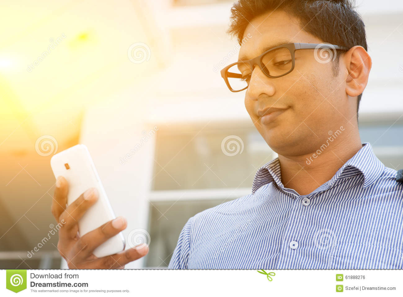 Indian business people using smartphone