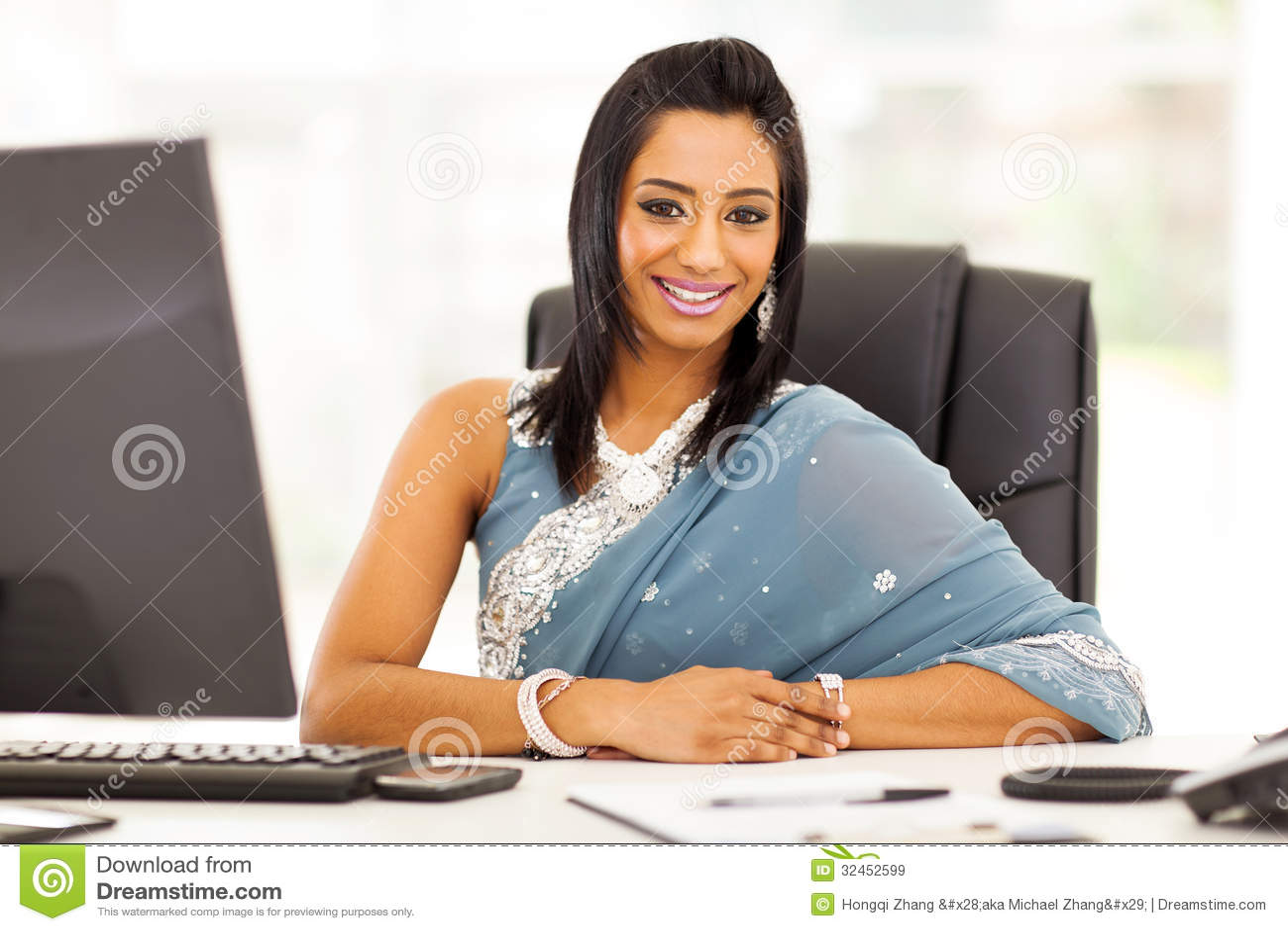 Indian businesswoman sari stock image Image of