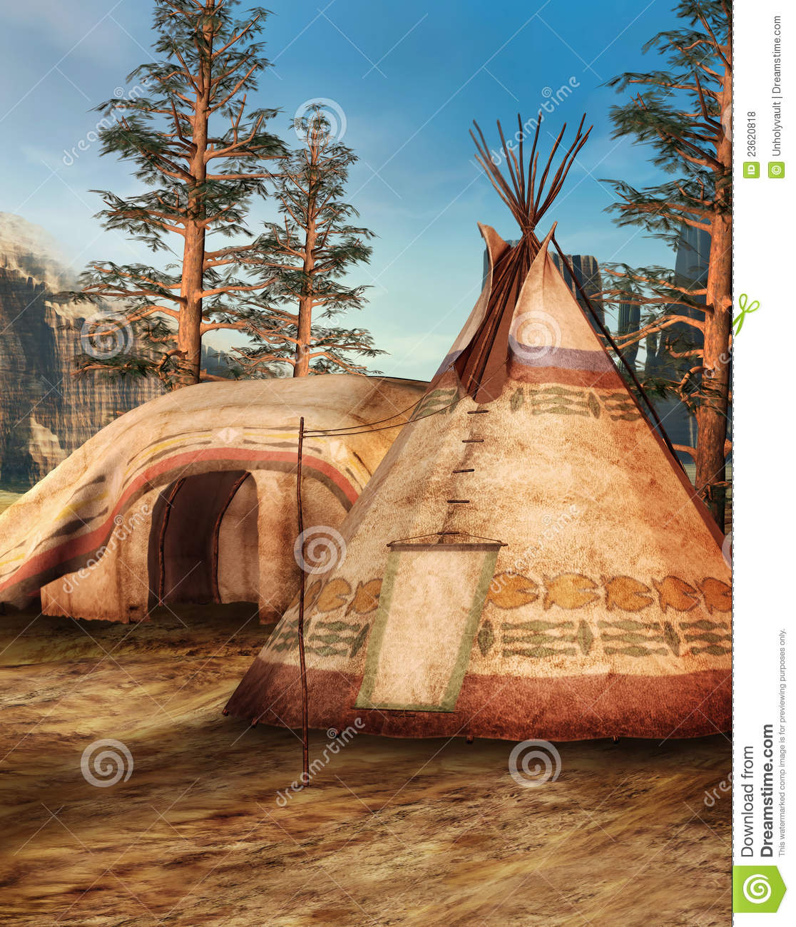 Indian Camp In The Mountains Royalty Free Stock Photos
