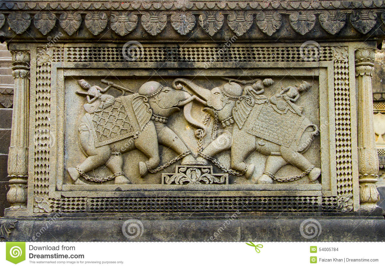 Indian Carving Carved Warriors On Elephant Stock Photo