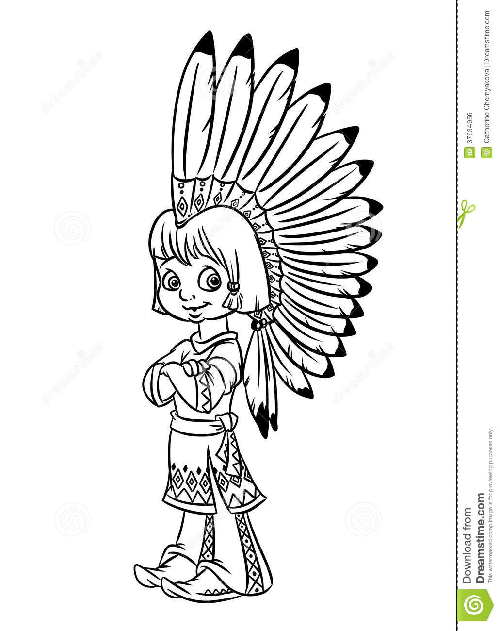 Indian chief boy illustration coloring pages stock for Free indian coloring pages
