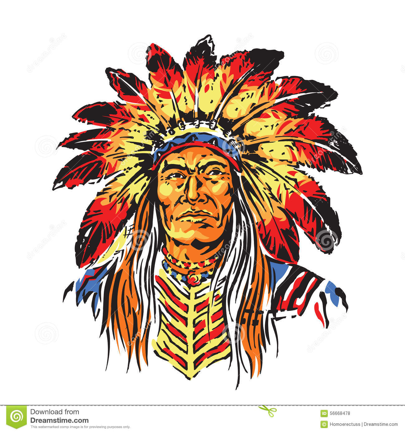 b2f571ed1 Vector Illustration of Bright and Colorful Indian War Chief Illustration
