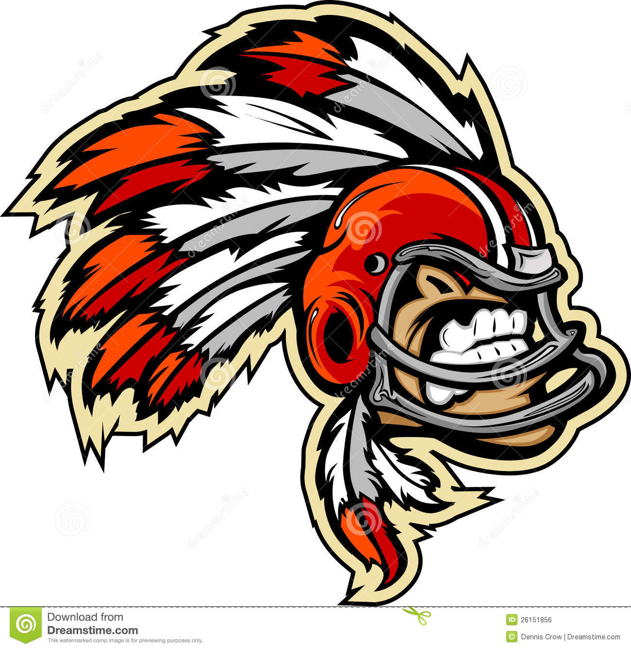 Graphic lmage of an Indian Chief Football Mascot with Feathers on ...