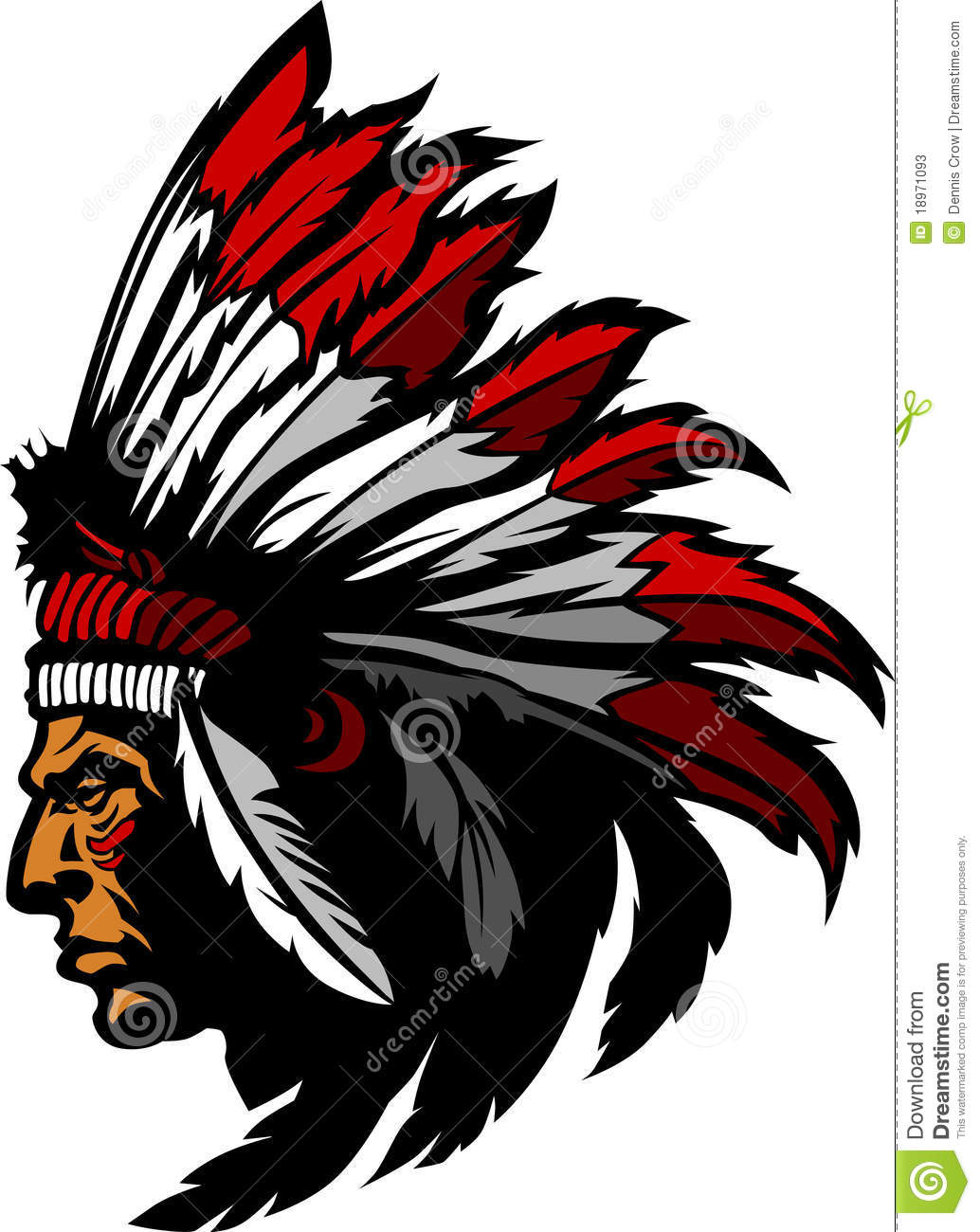 indian chief mascot vector logo stock vector illustration of rh dreamstime com Indian Mascots and Logos Indian Chief Head Logo