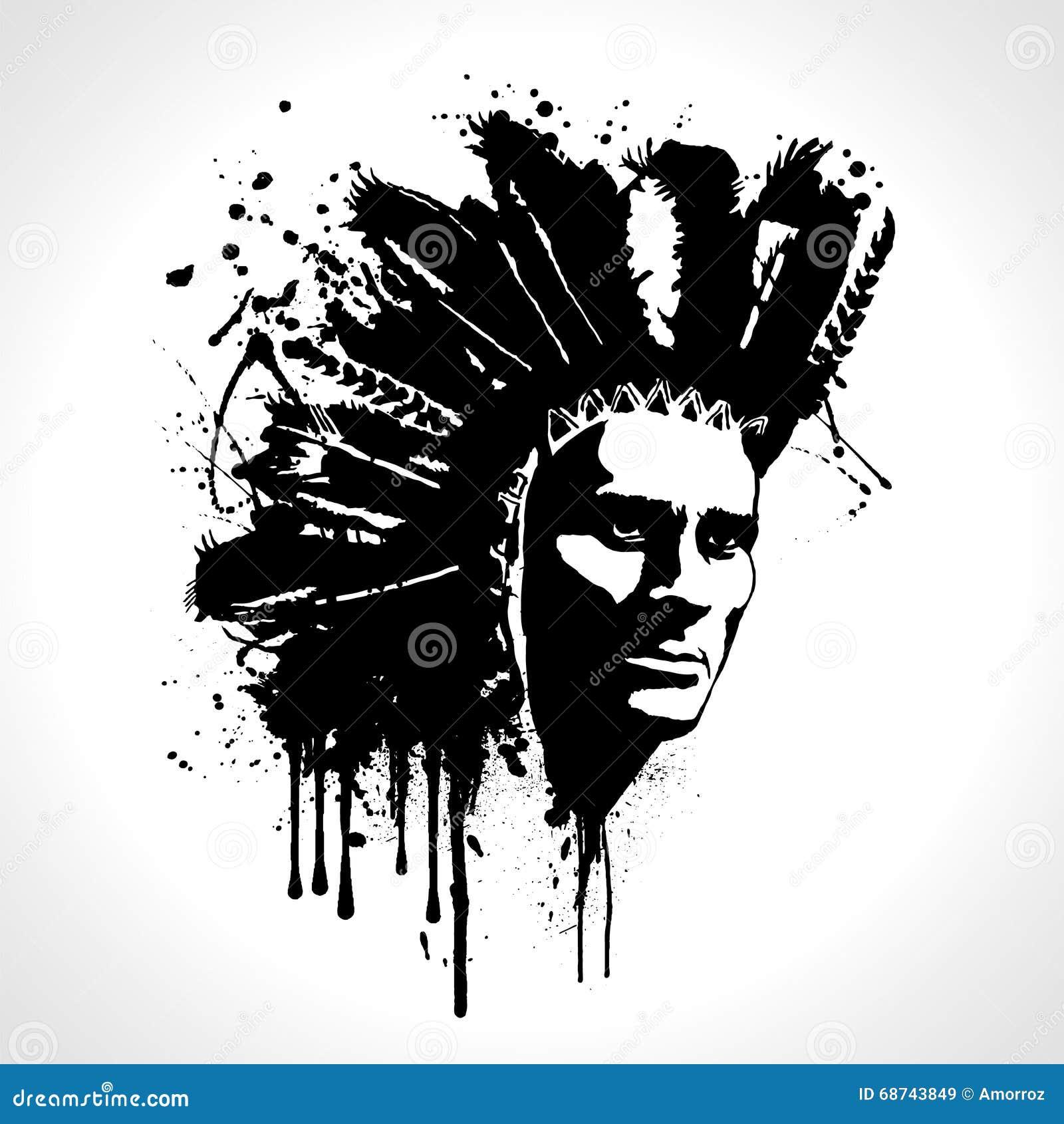 indian chief portrait splash vector. t-shirt graphics stock