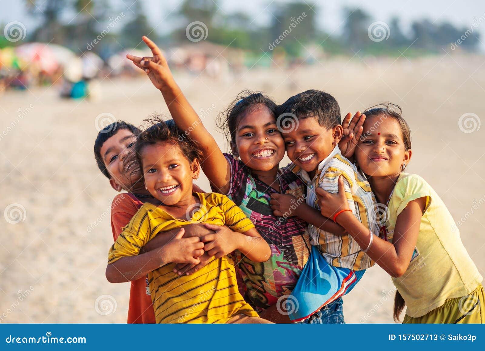 Indian children at beach, Goa