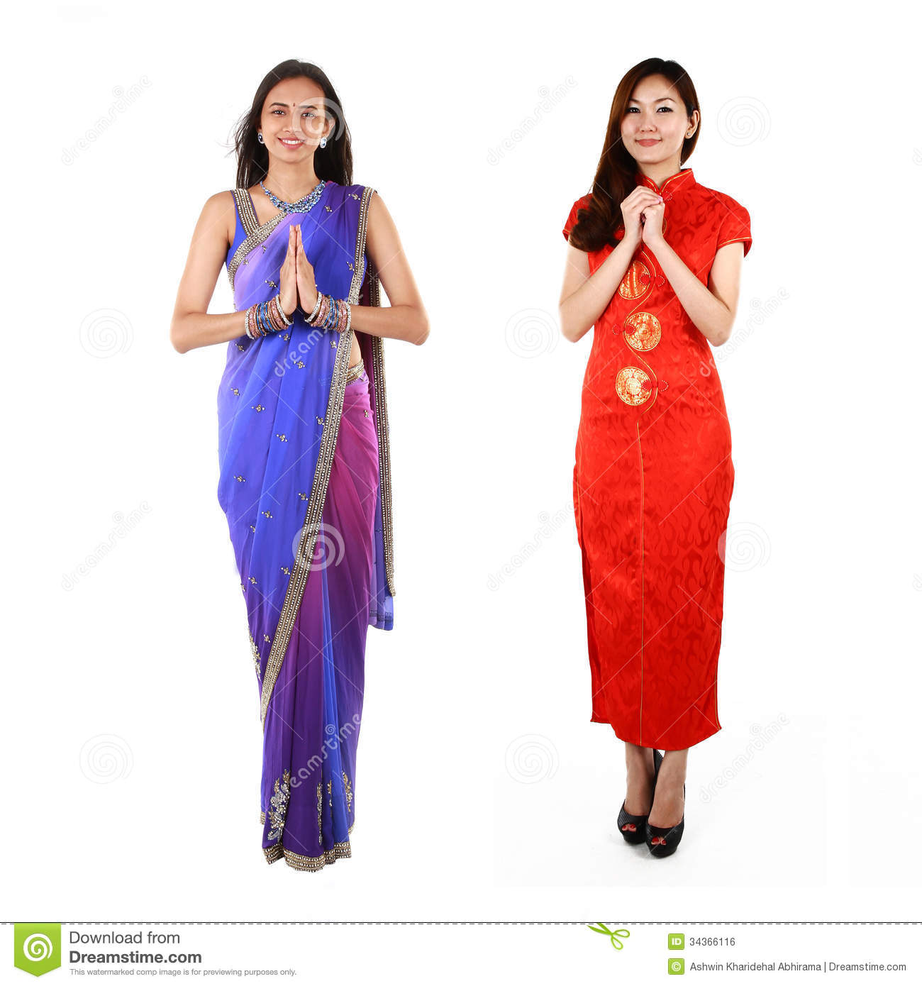 Indian And Chinese Woman In Traditional Clothing Royalty
