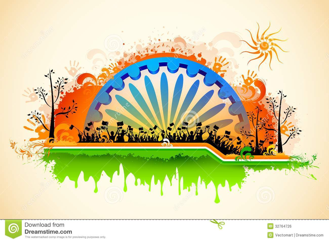 indian citizen waving flag on tricolor flag royalty free