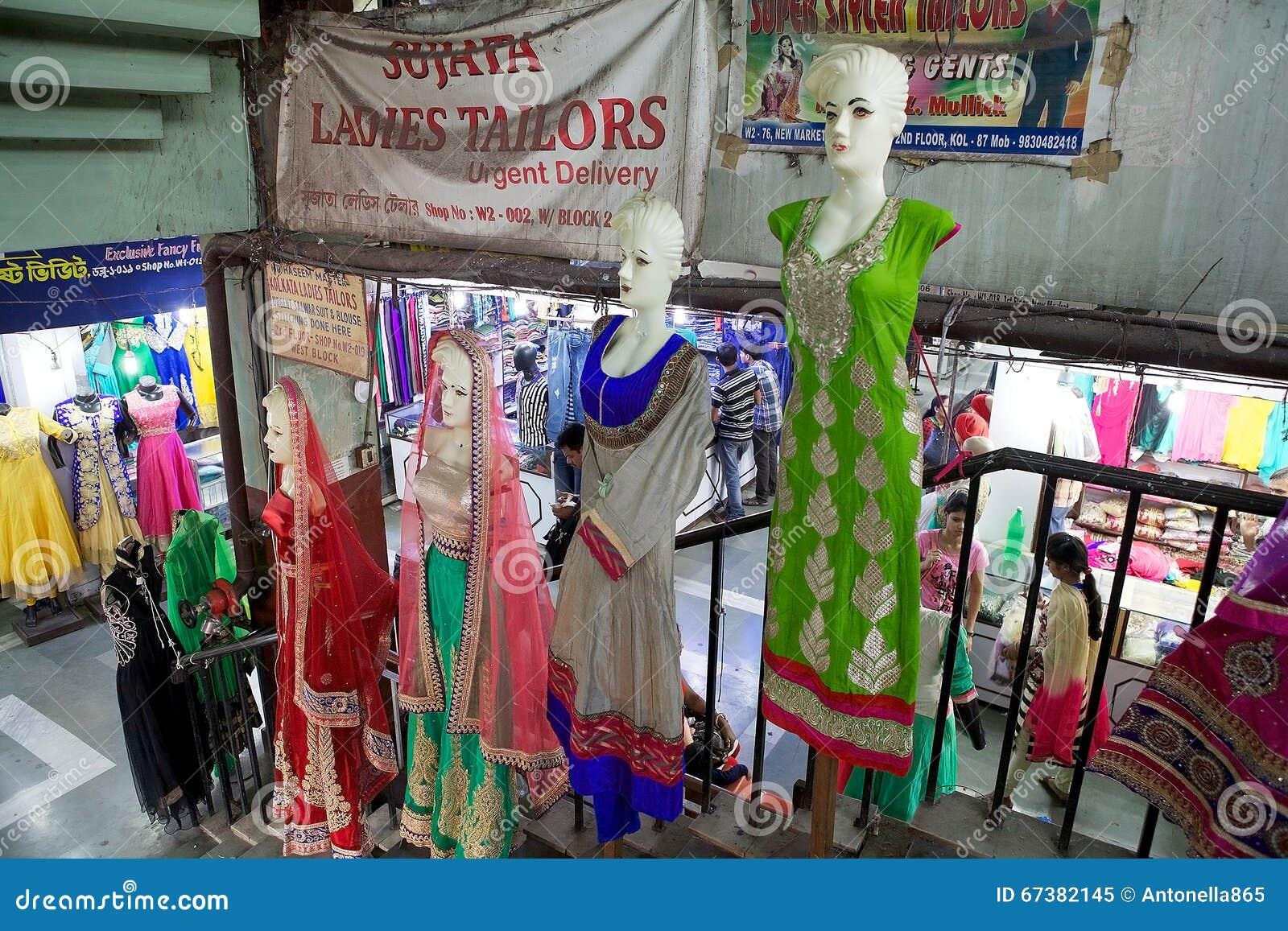 fa97032480 Indian Clothes For Sale At The New Market, Kolkata, India Editorial ...