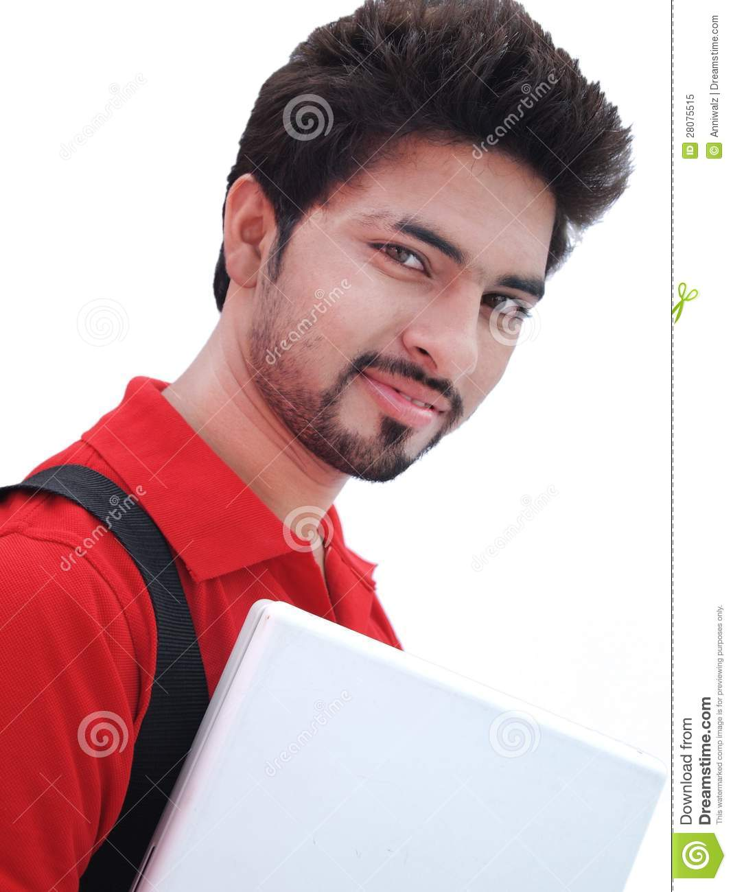 indian college student over white background  stock image