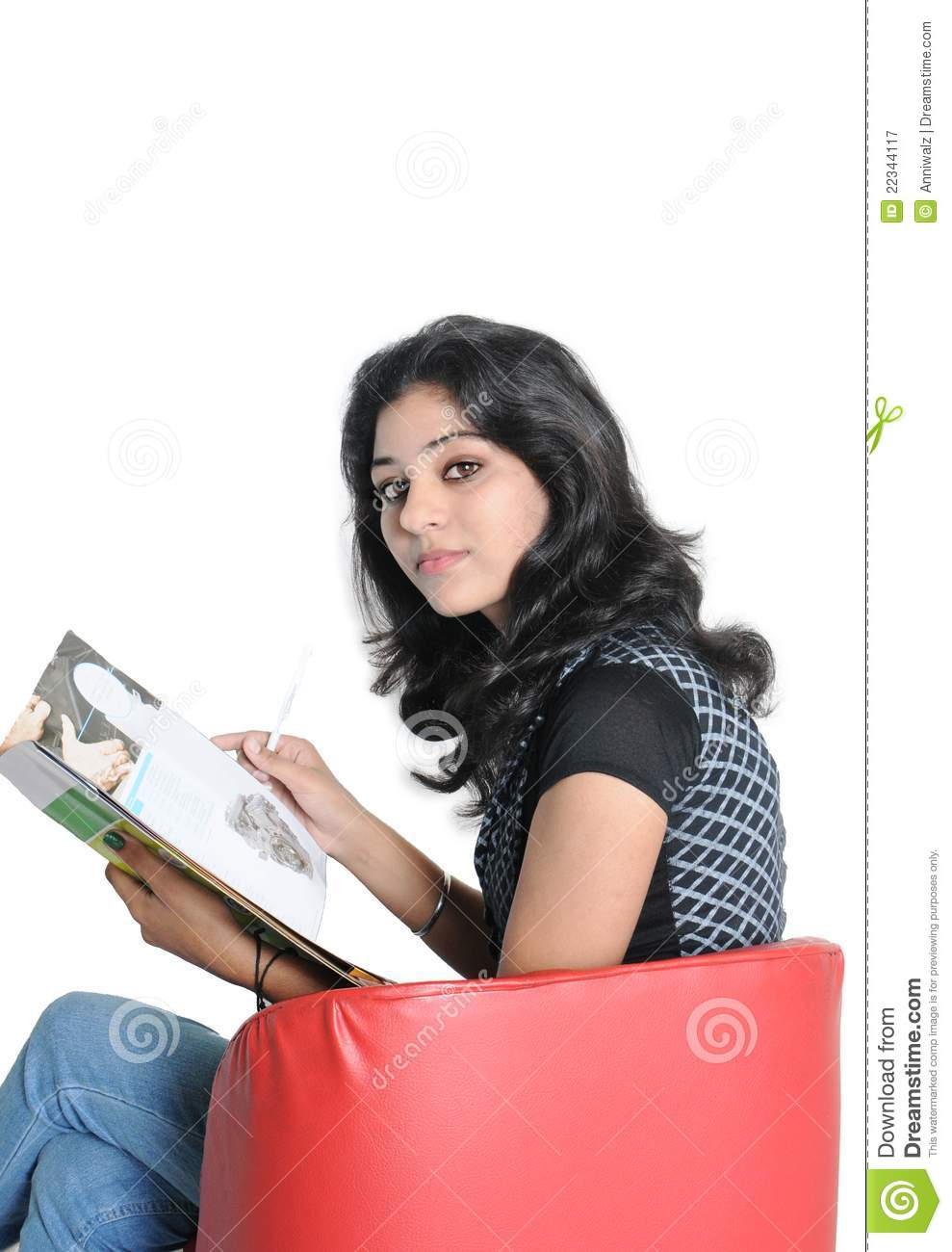 indian college student reading book. stock image - image of indian