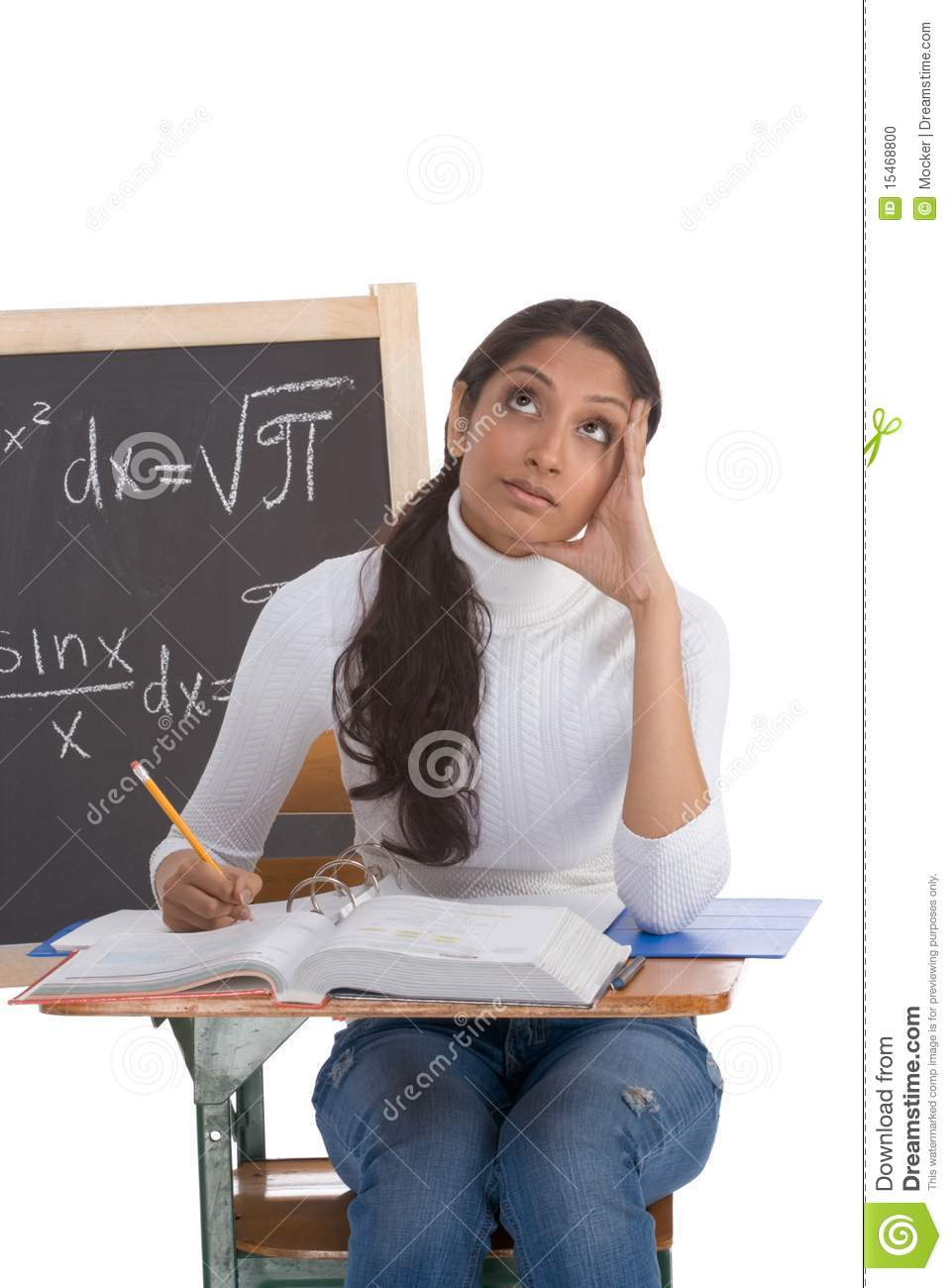 indian college student woman studying math exam stock