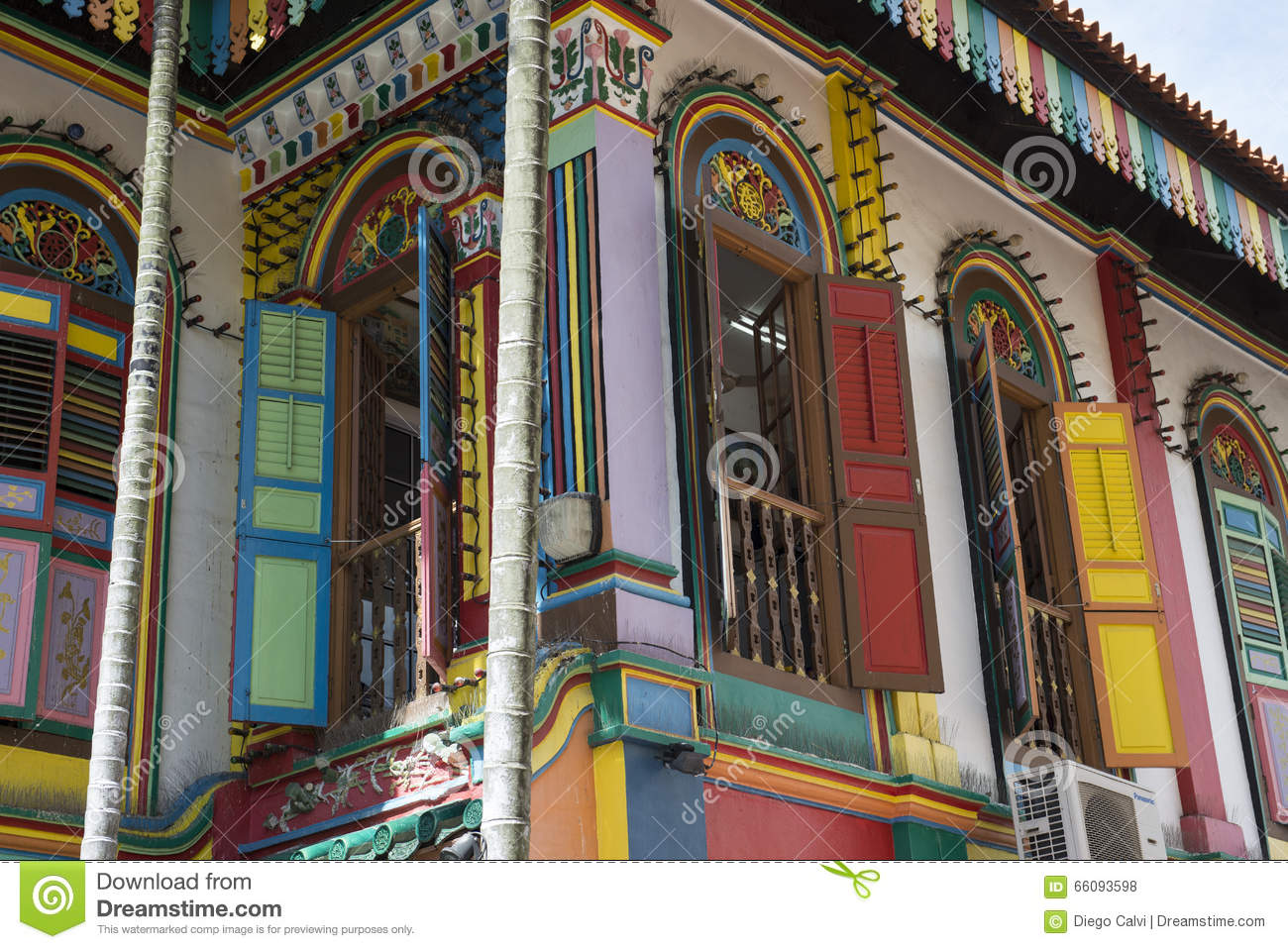 Indian colorful building Streets in the city of Singapore.