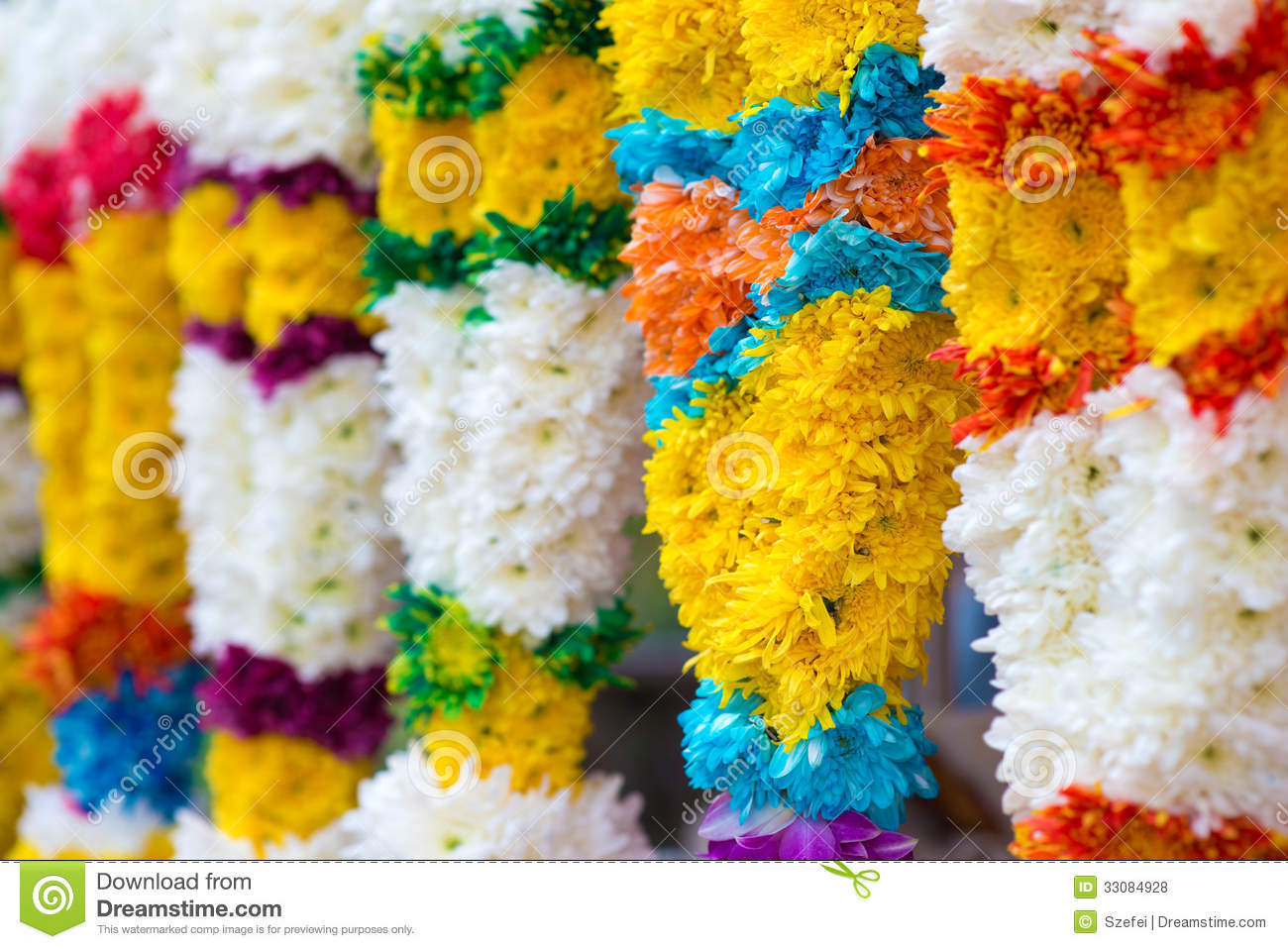 indian colorful flower garlands stock photo image 33084928. Black Bedroom Furniture Sets. Home Design Ideas