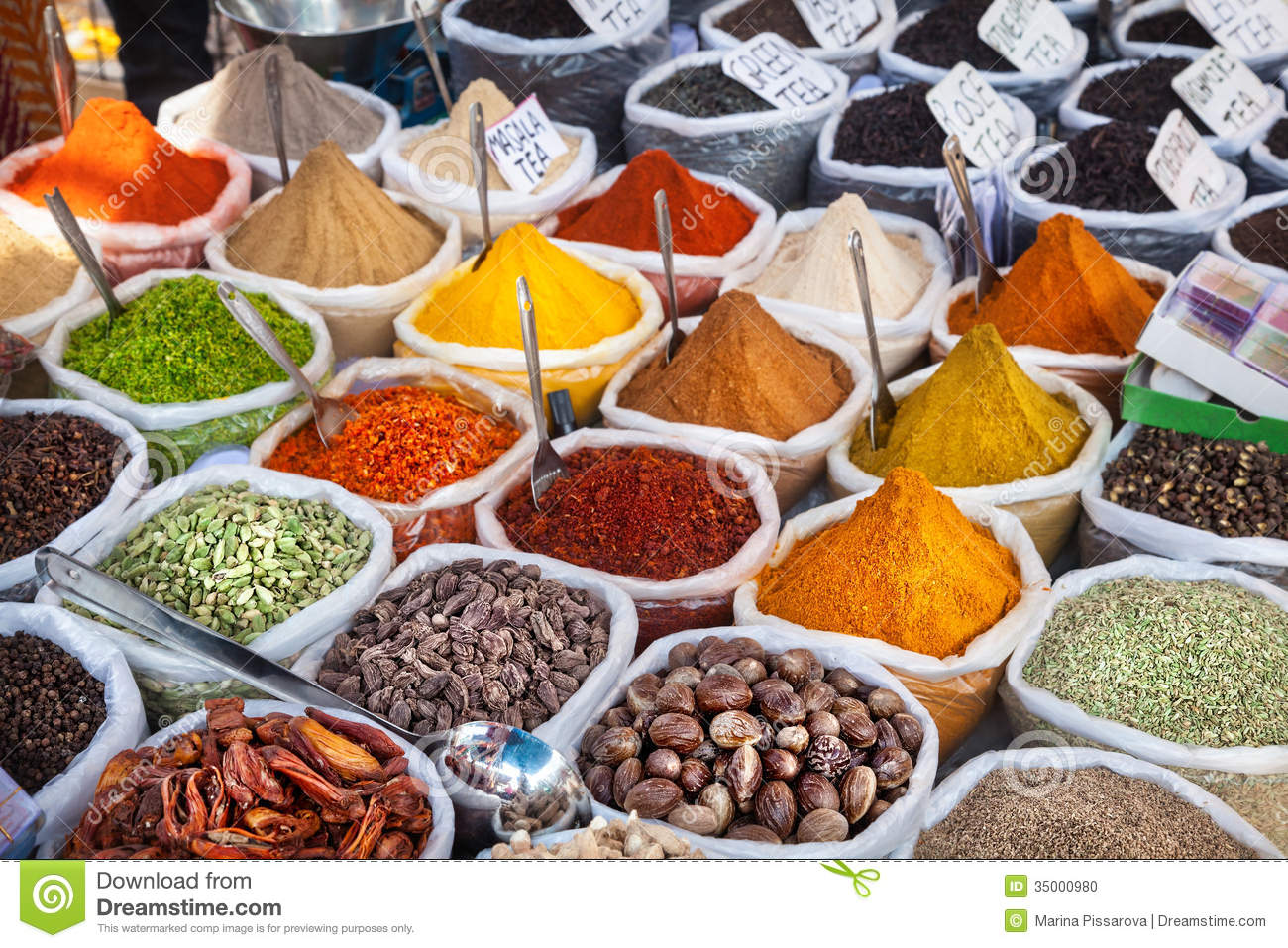 Indian colorful spices stock photo. Image of indian, brown - 35000980