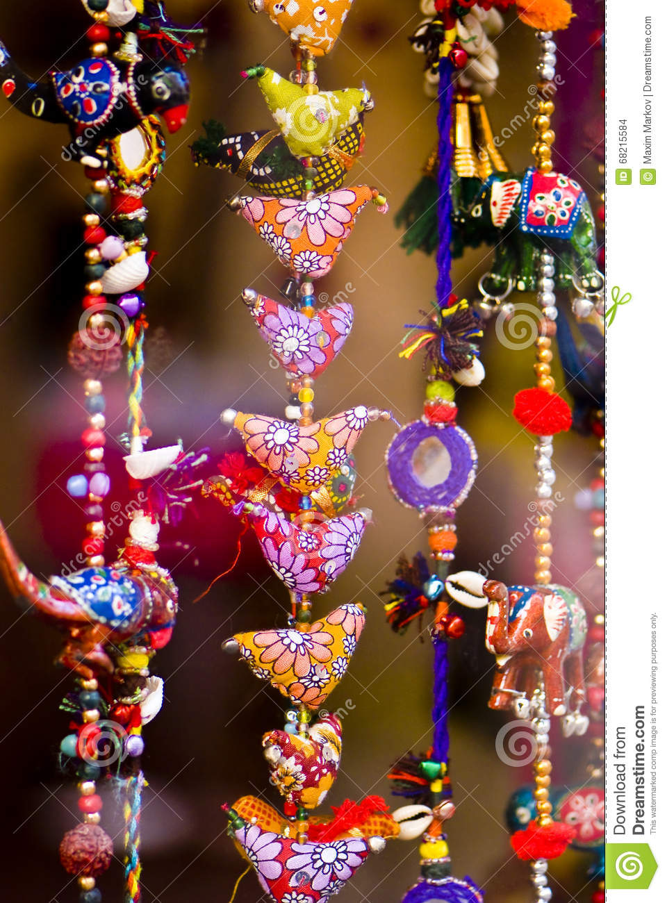 Close Up Photo Of Bright Warm Colorful Indian Home Decorations Different Shapes Wonderful National Patterns Flowers Geometric Figures Etc