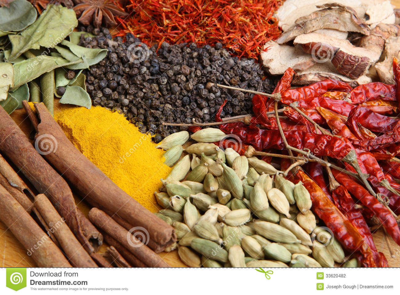 Indian cookery spices and food ingredients stock for 7 spice indian cuisine