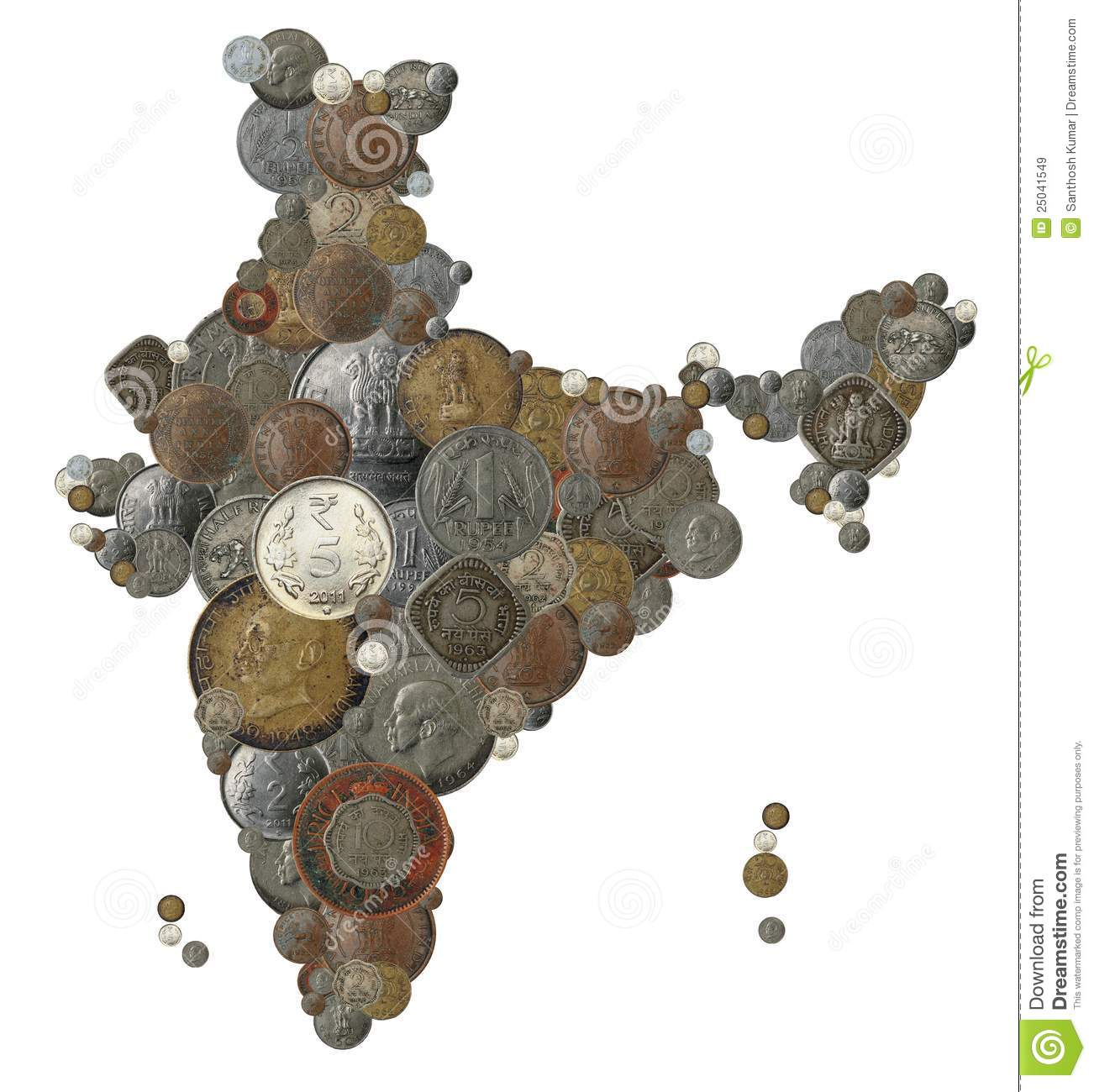 Indian Country Map Made With Old, New India Coins Stock Image ...