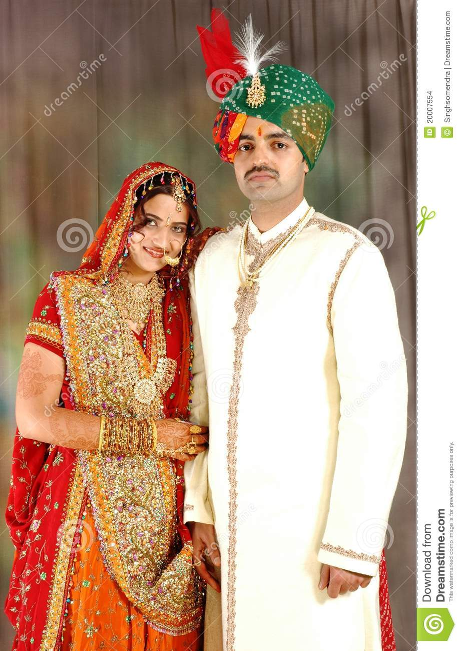 Indian Couple In Wedding Attire Stock Photo Image 20007554