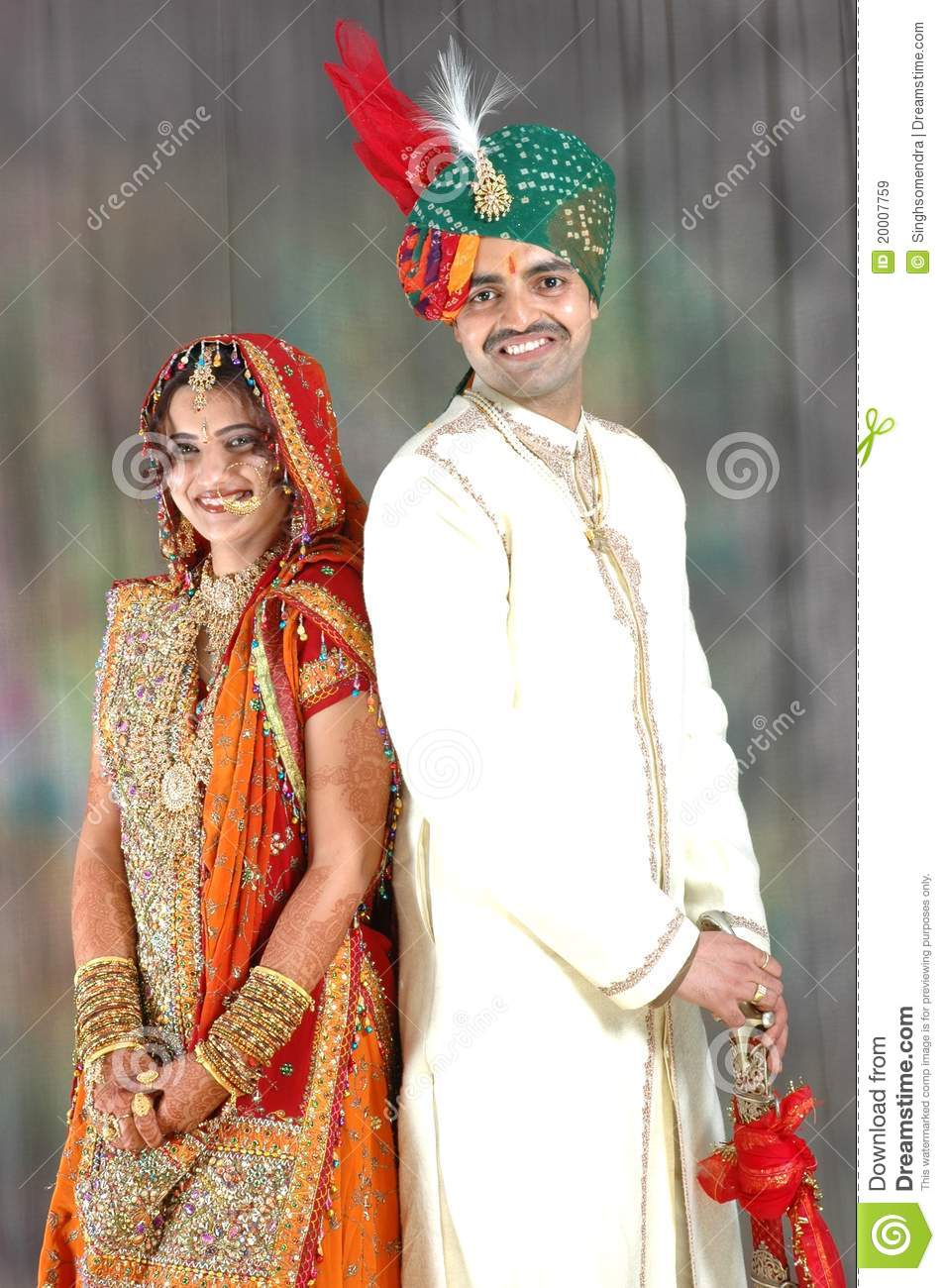 Indian couple in wedding attire stock image image of for Traditional photos