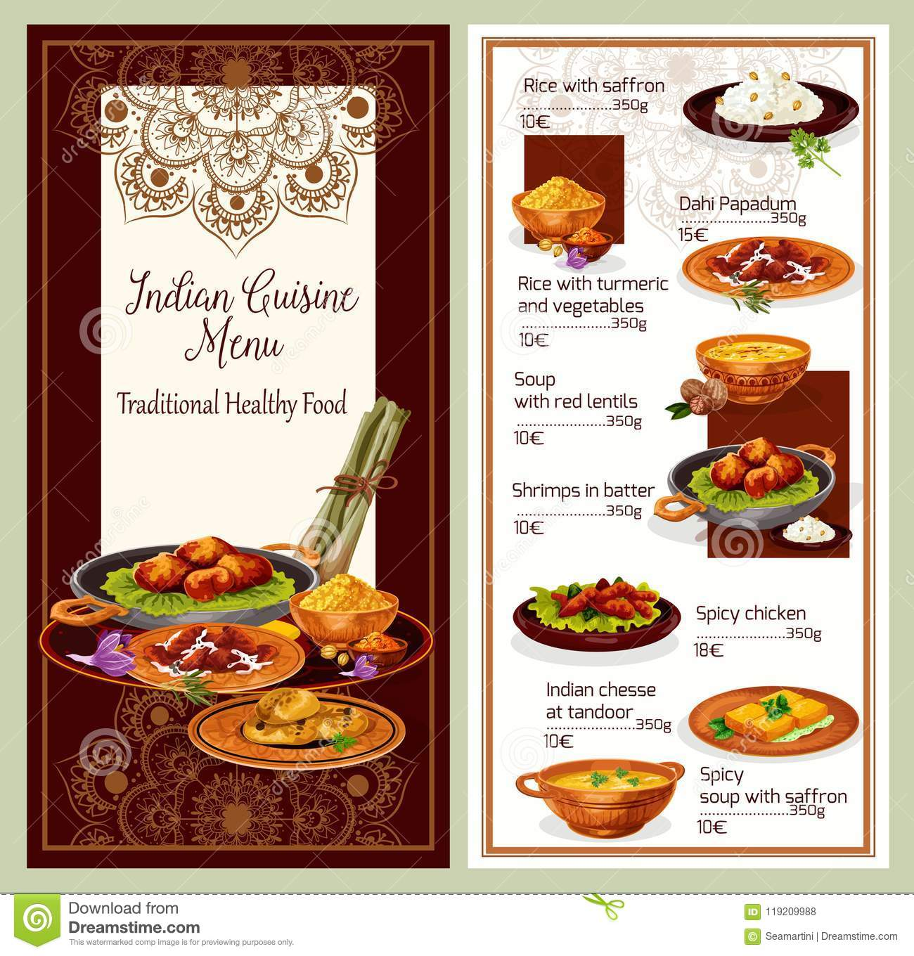 Indian Cuisine Restaurant Menu Template Design Stock Vector