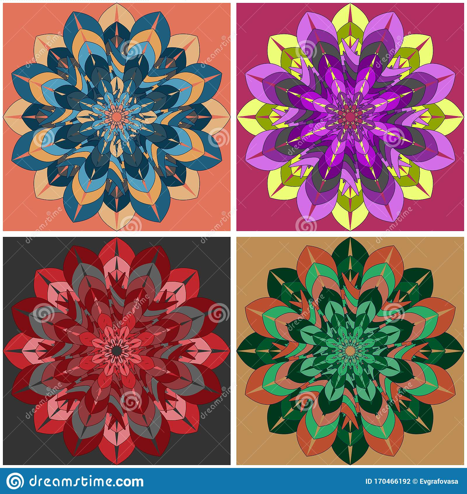 Indian Culture Mandala Flower with a Set Ornament of Four Multi ...