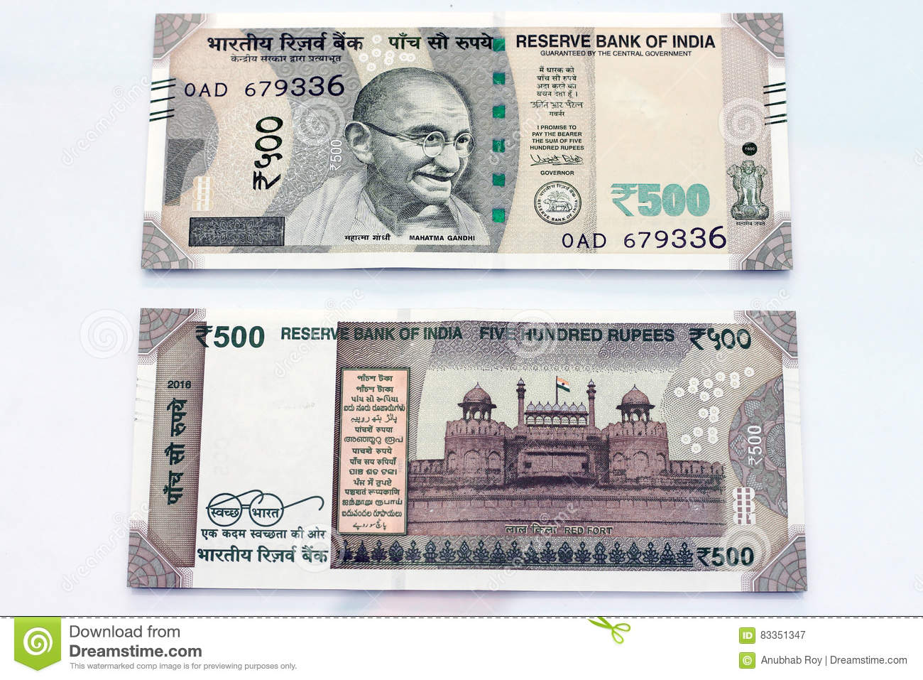 Indian Currency Of 500 Rupee Notes  Stock Image - Image of