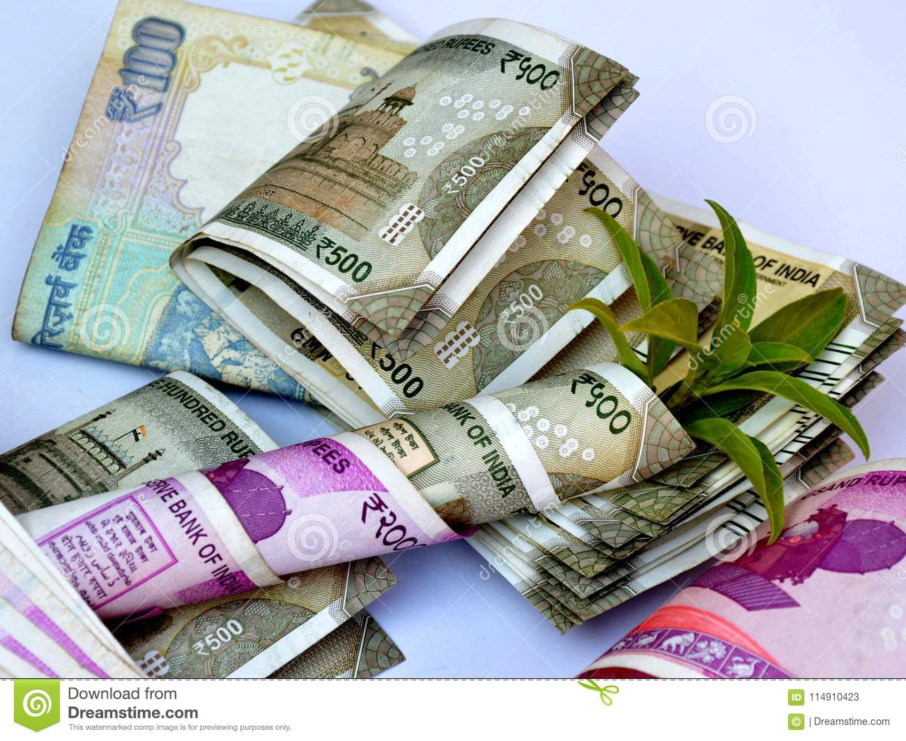 Indian Currency On White Background  Stock Image - Image of