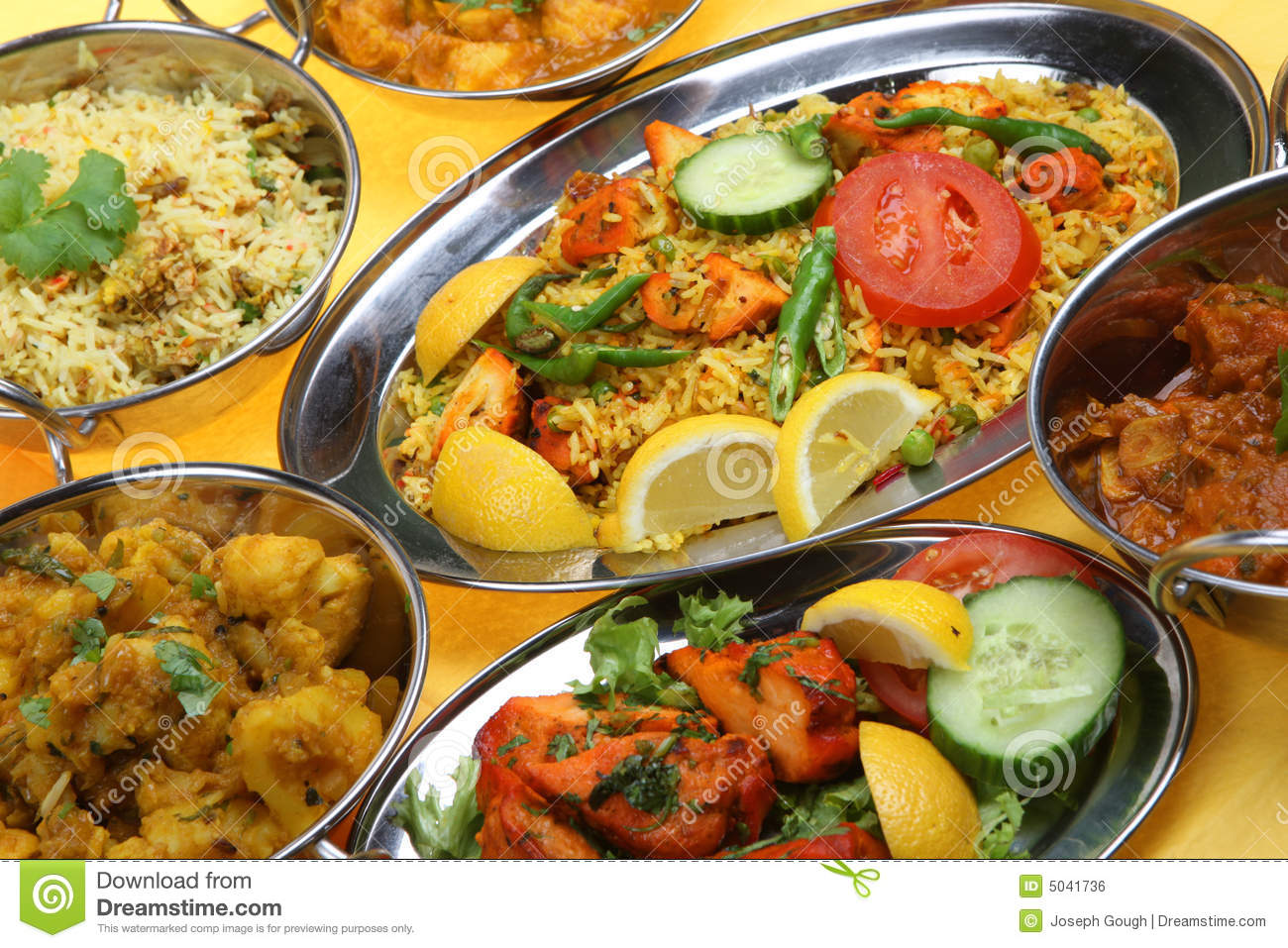 Indian Curry Dishes Stock Photo Image Of Stainless