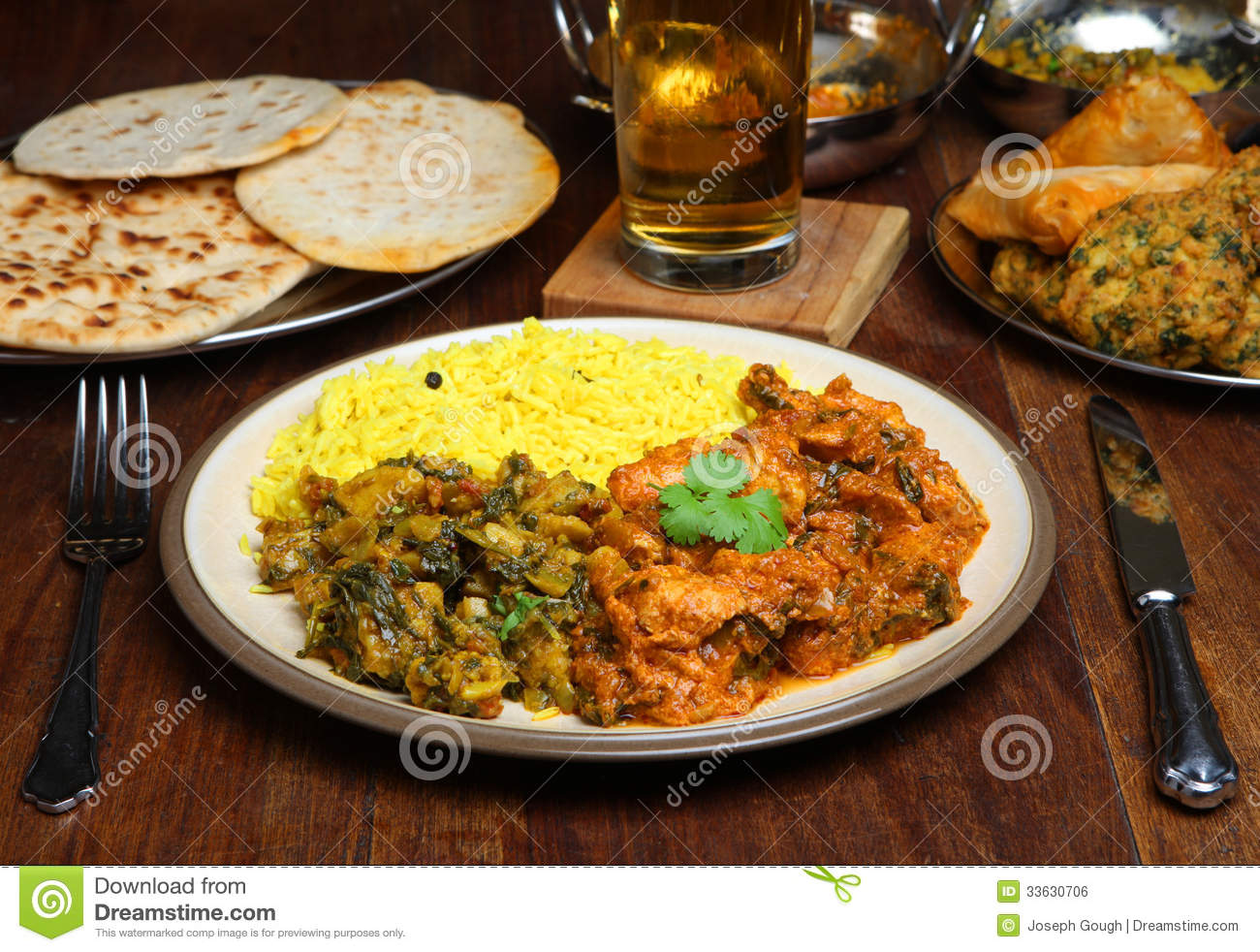 indian curry meal food on table stock photo image 33630706. Black Bedroom Furniture Sets. Home Design Ideas