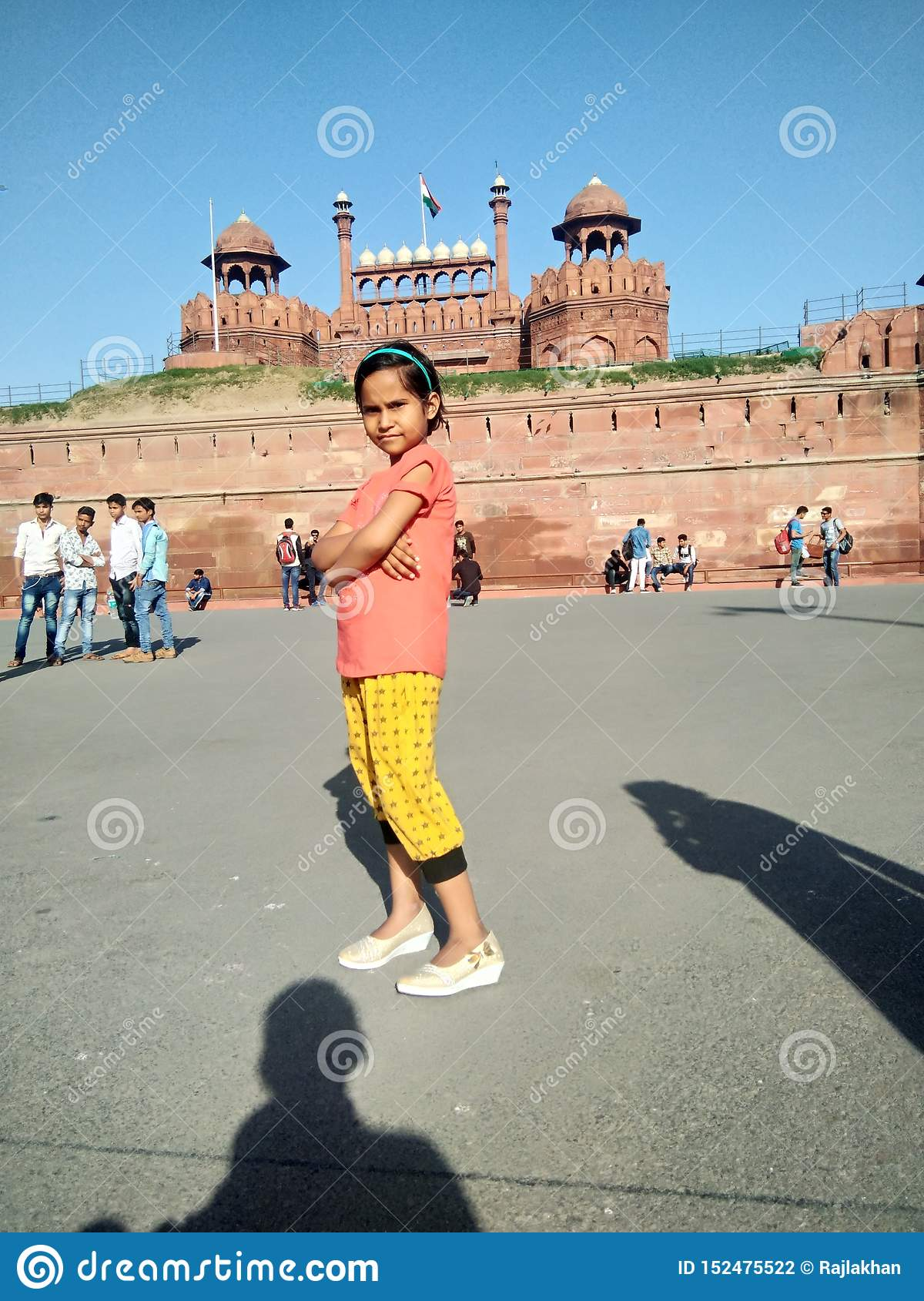 Indian cute baby girl in red fort