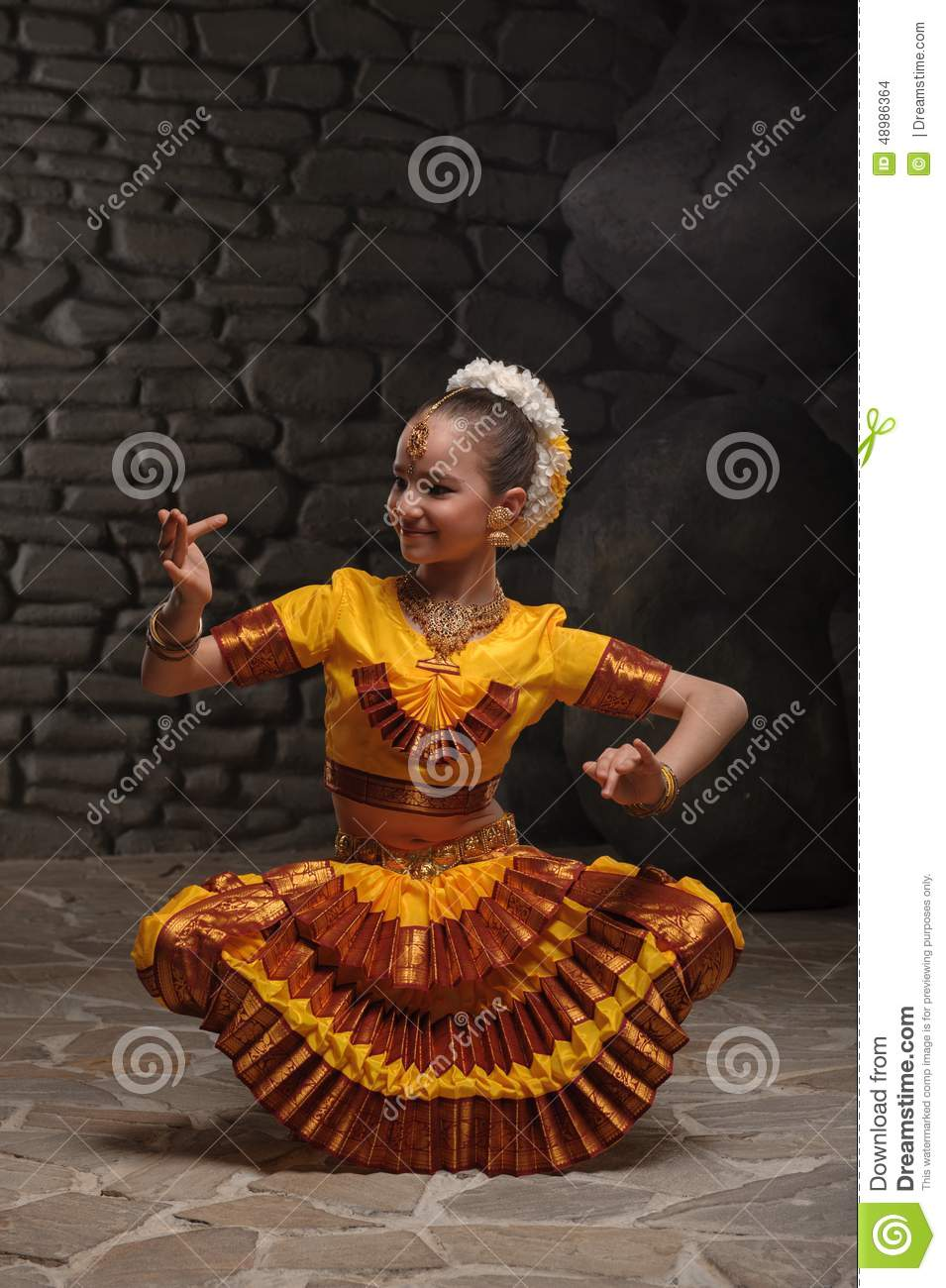 Indian Dancing Girl Stone Bewitching Dance Sunset Little National Suit Stiffened Mystical Pose Against Stones