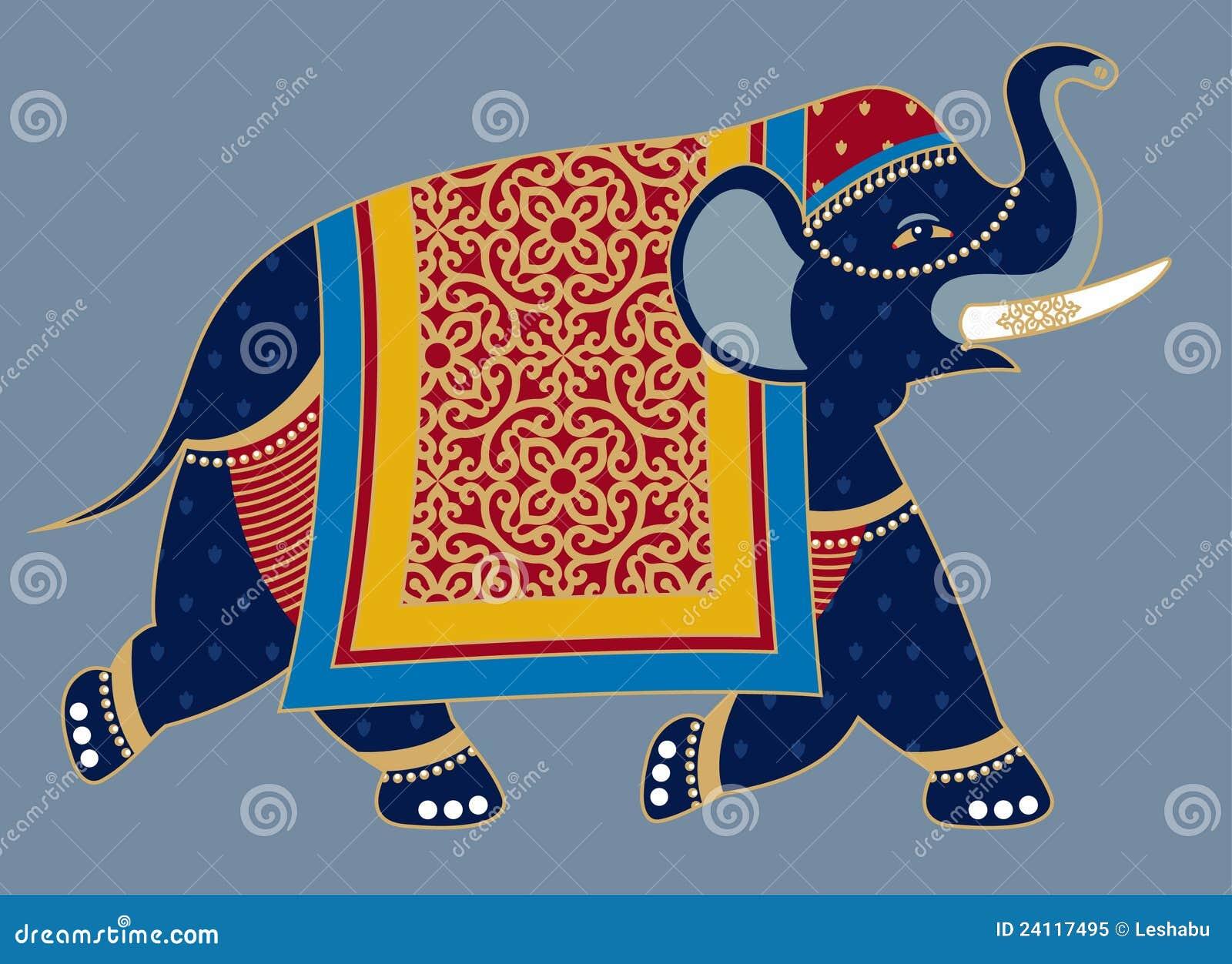 Indian Decorated Elephant Illustration Royalty Free Stock ...