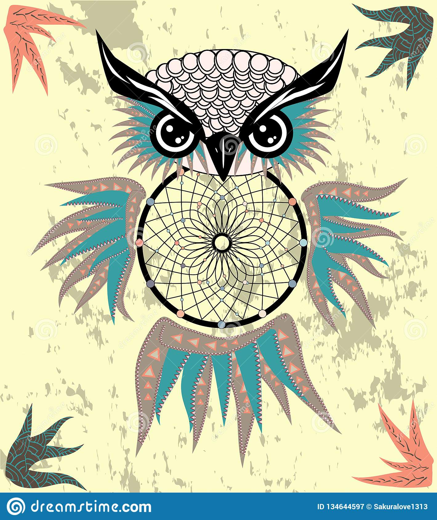 Indian decorative Dream Catcher owl in graphic style. illustration