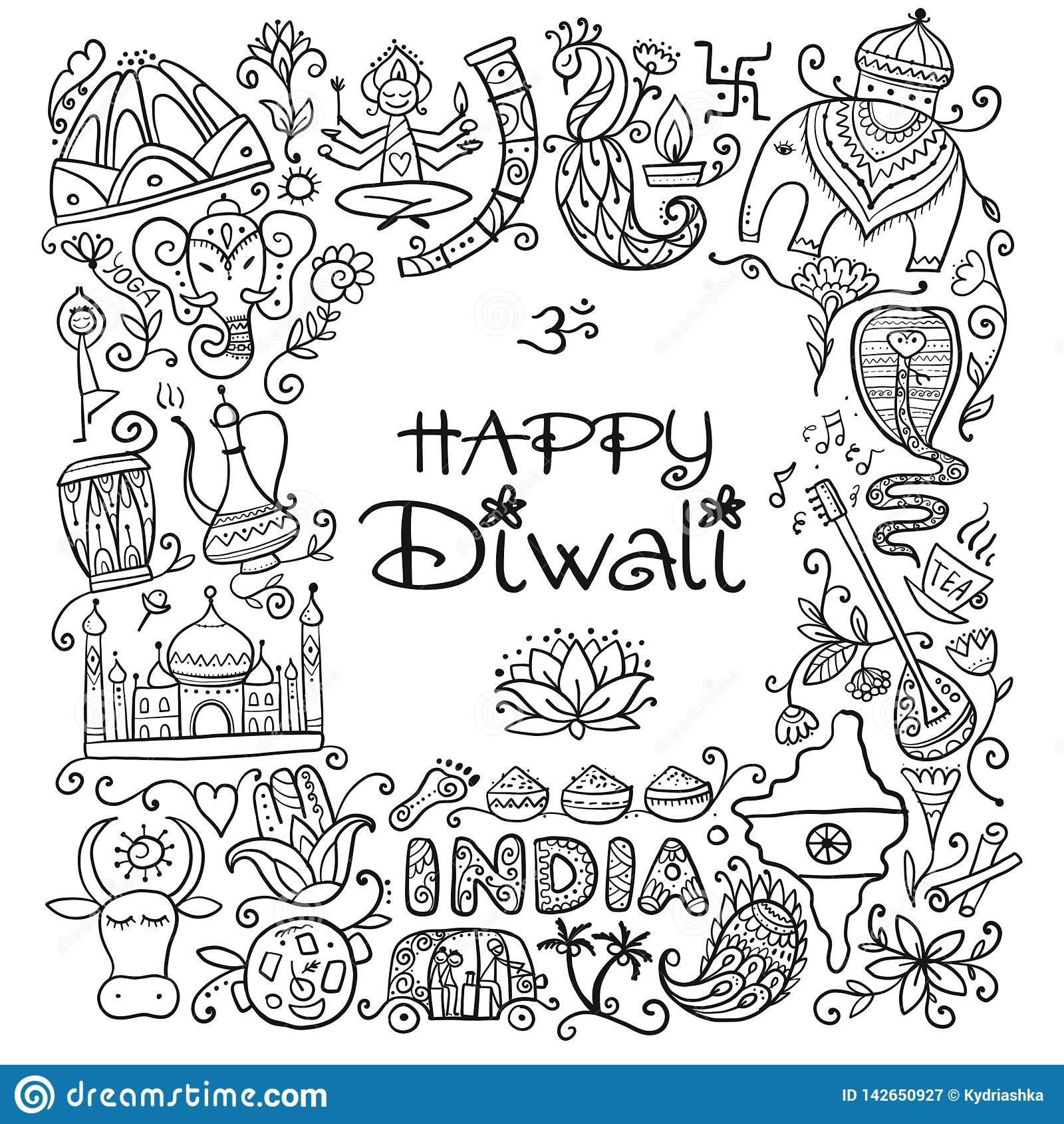Indian diwali festival holiday sketch for your design stock