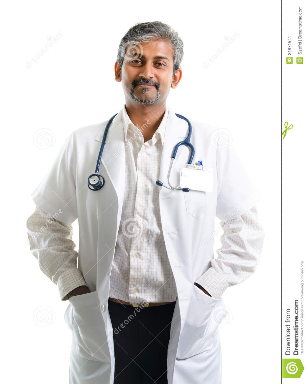Indian doctor. Mature Indian male medical doctor standing isolated on white  background. Handsome Indian model portrait.