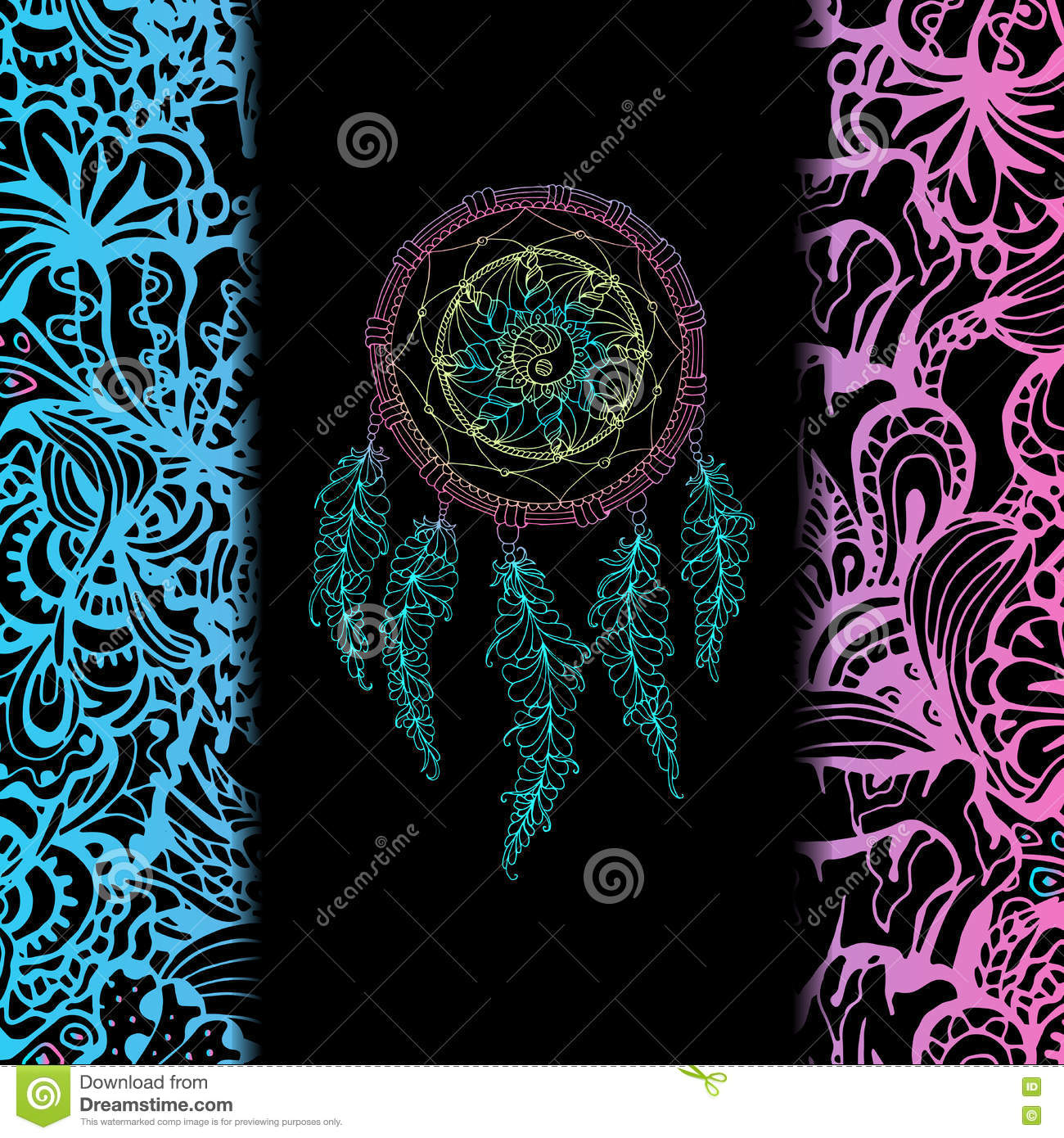 indian dream catcher black background stock vector illustration