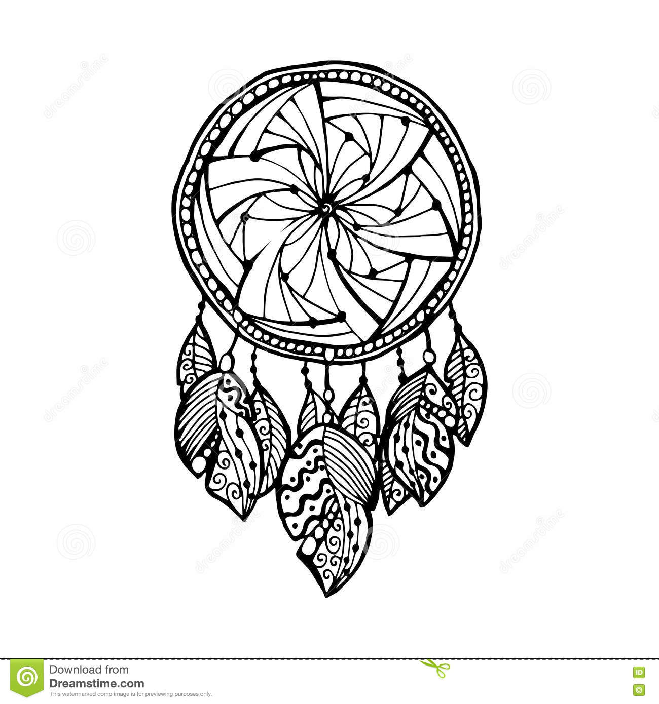 Indian dream catcher black and white ethnic graphic for Dream catcher graphic