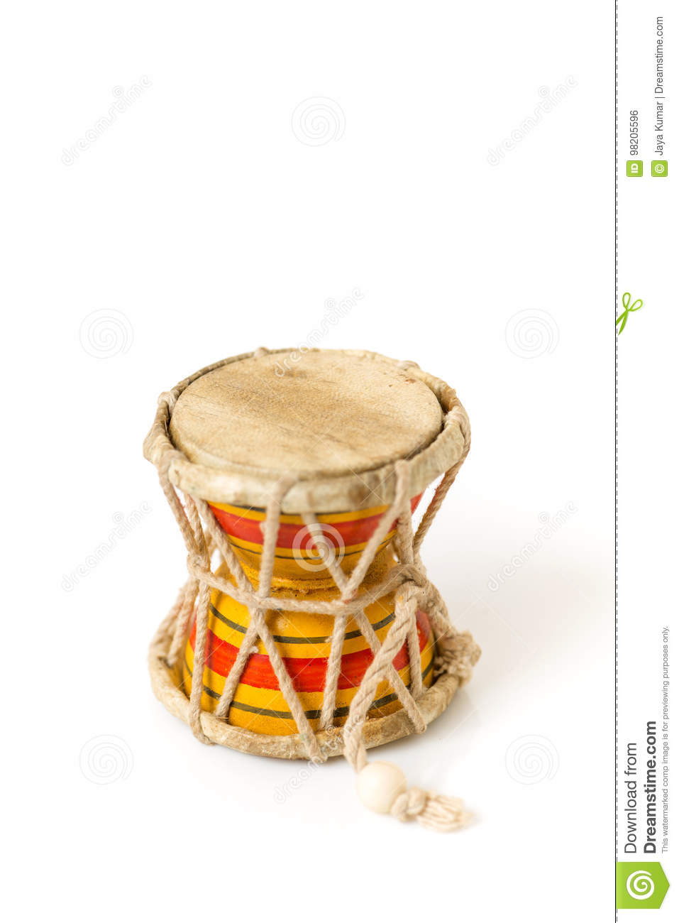 Indian Drums Damarul Instrument For Lord Shiva Stock Photo