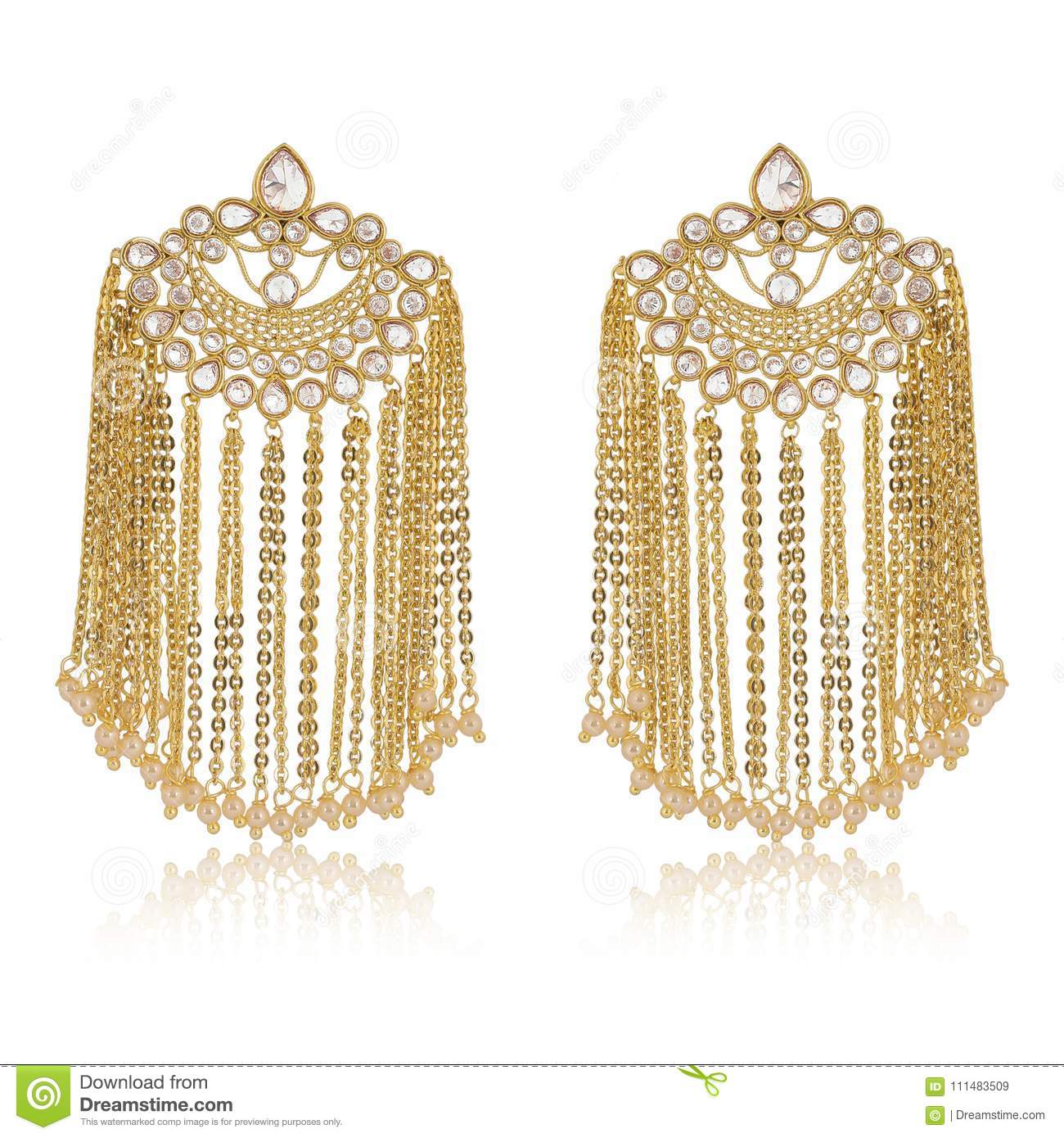 Indian earrings of gold chains