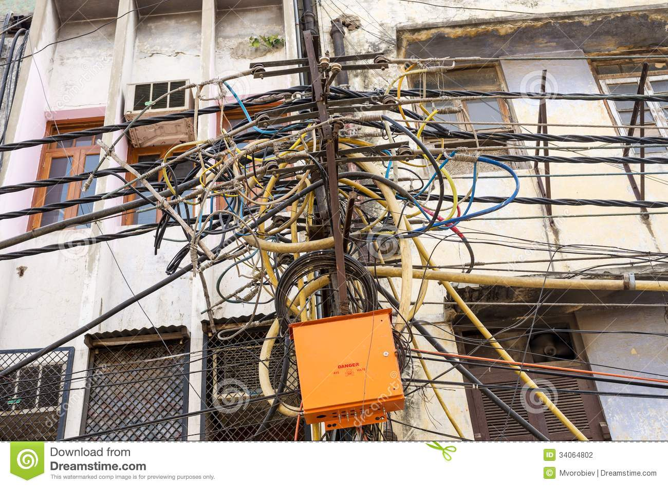 Messy Telephone Wiring Great Design Of Diagram Closet Mess Indian Electricity Pole Stock Photography Image 34064802 Computer Wires