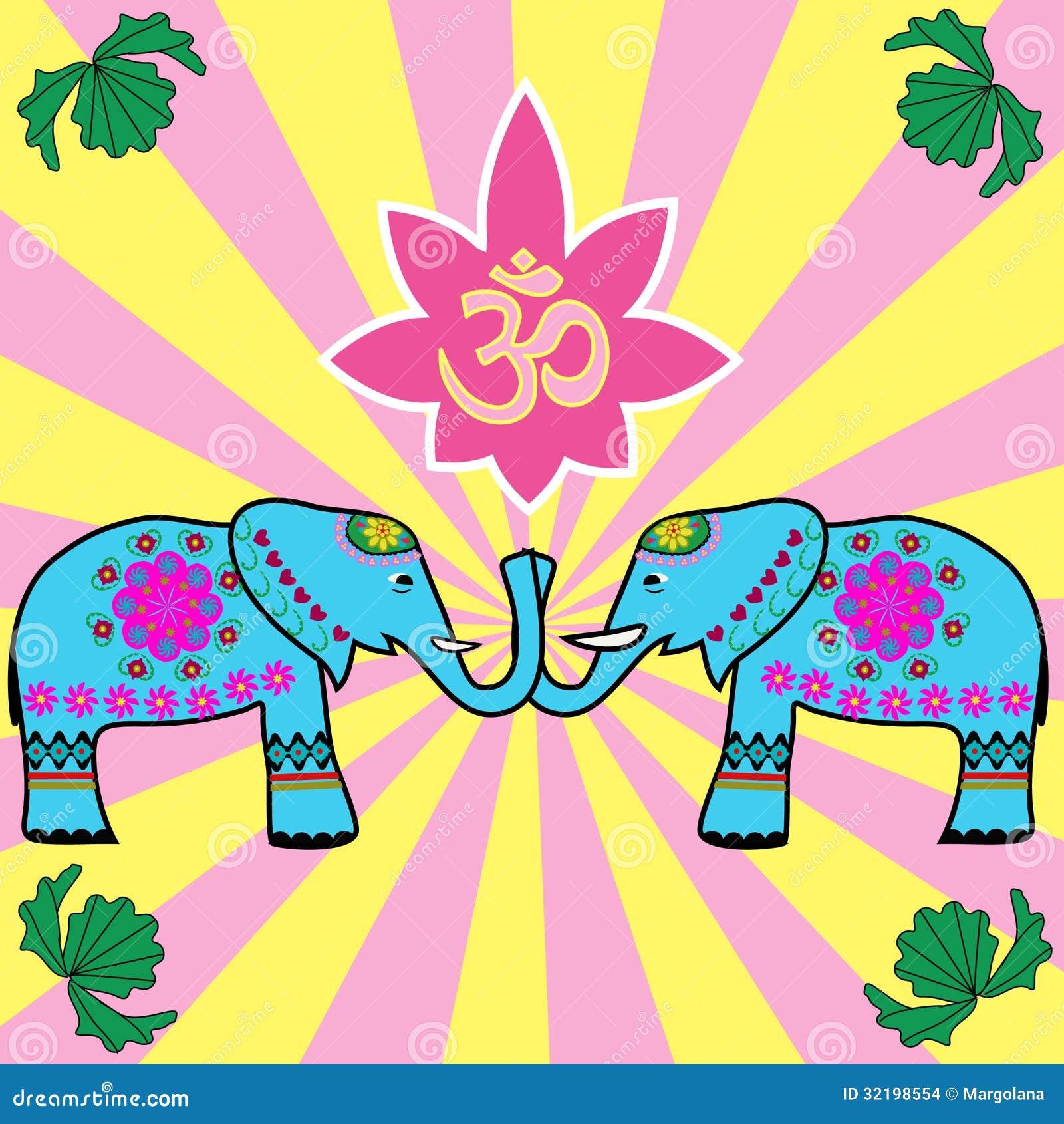 Indian elefants and OM sign background
