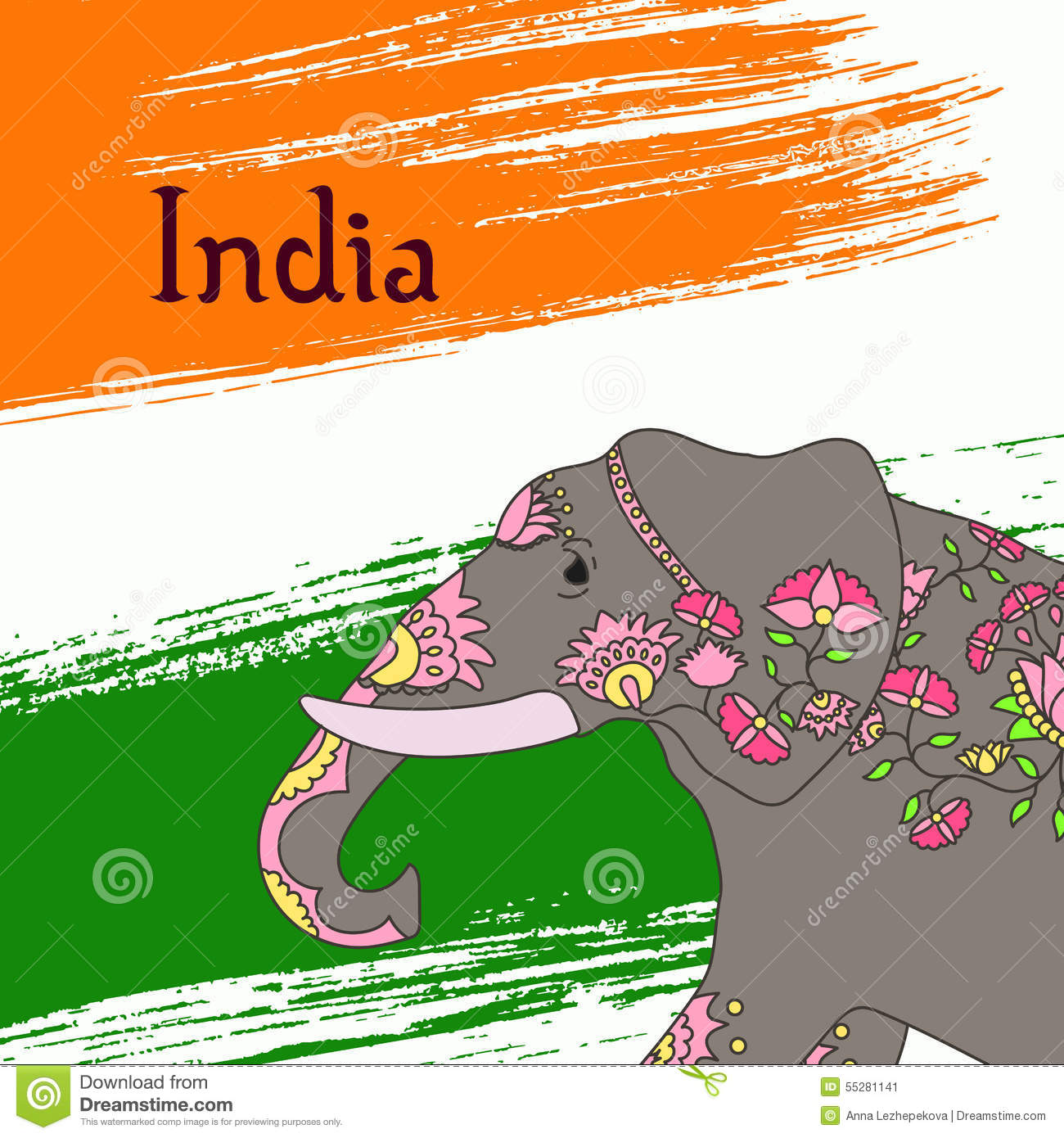 indian elephant with beautiful pattern stock vector image 55281141
