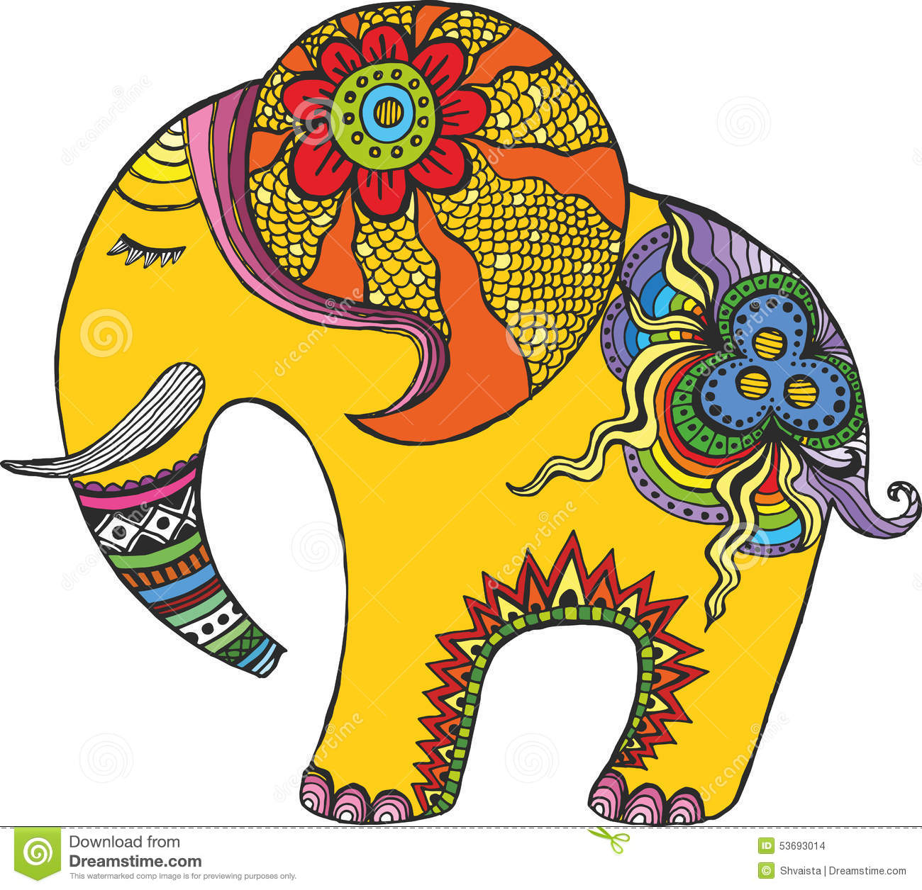 Indian Elephant In Rainbow Colors Stock Vector Image