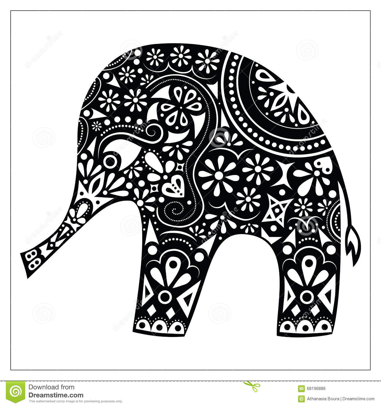 Holli Festival Decoration On Elephant Coloring Page Exotic Animal Black And White Doodle