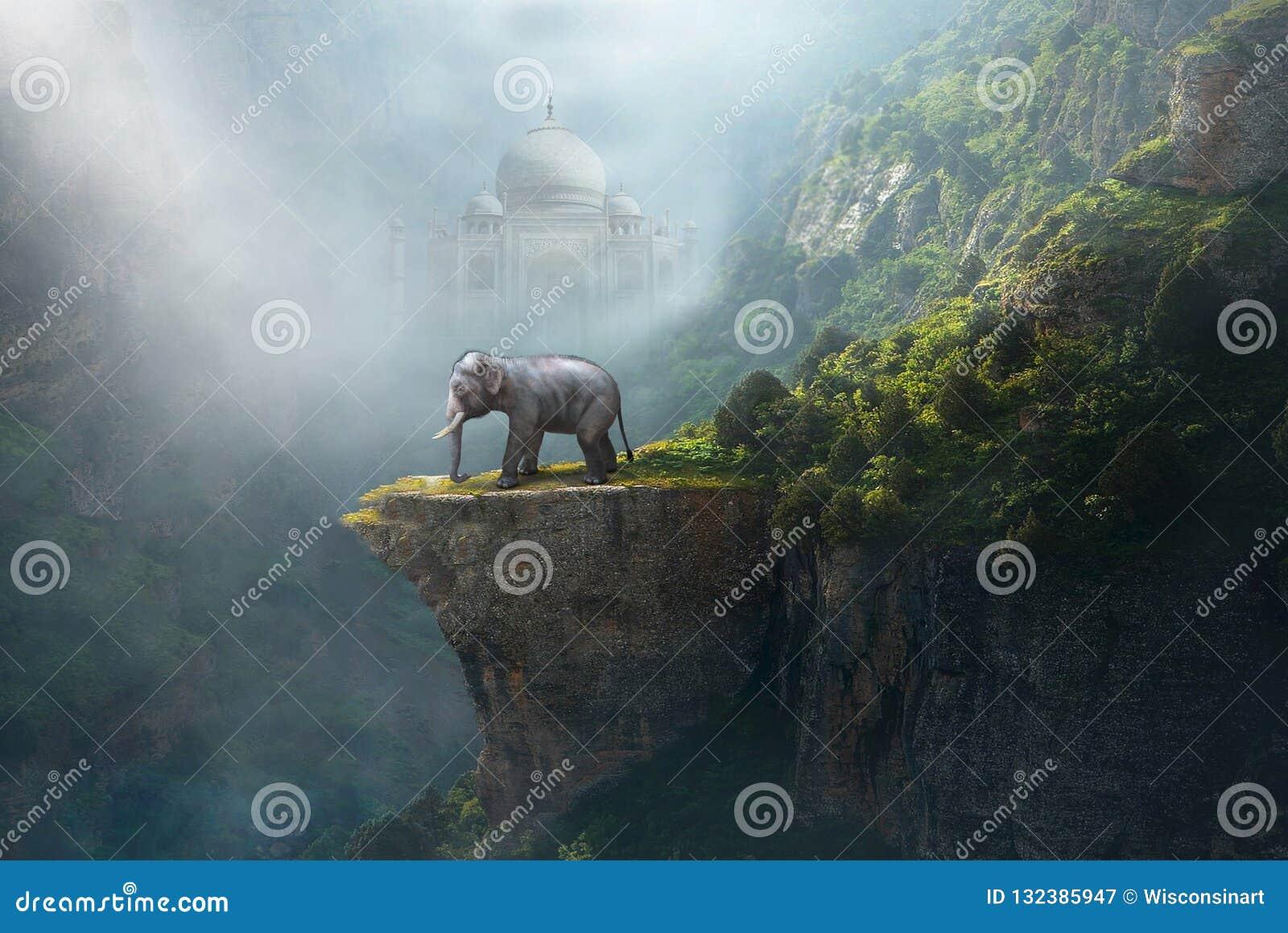 Indian Elephant, Taj Mahal, India, Fantasy Landscape