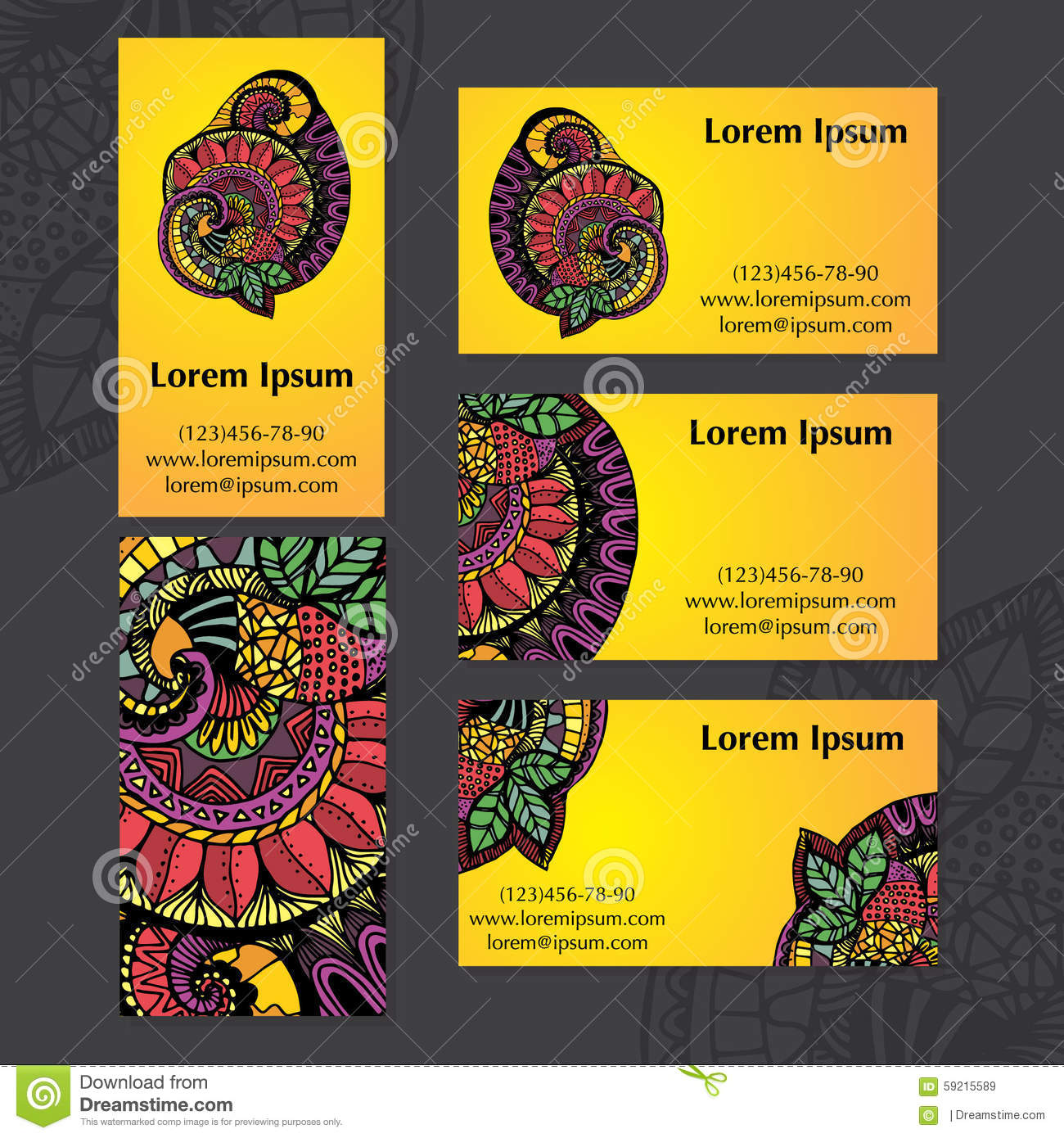 Set ethnic indian business cards stock vector illustration of indian ethnic ornament set of business cards vector illustrati vector illustration reheart Image collections