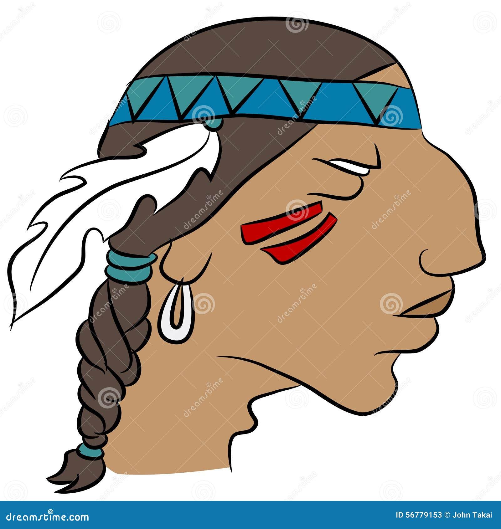 indian face profile cartoon stock vector illustration of headband